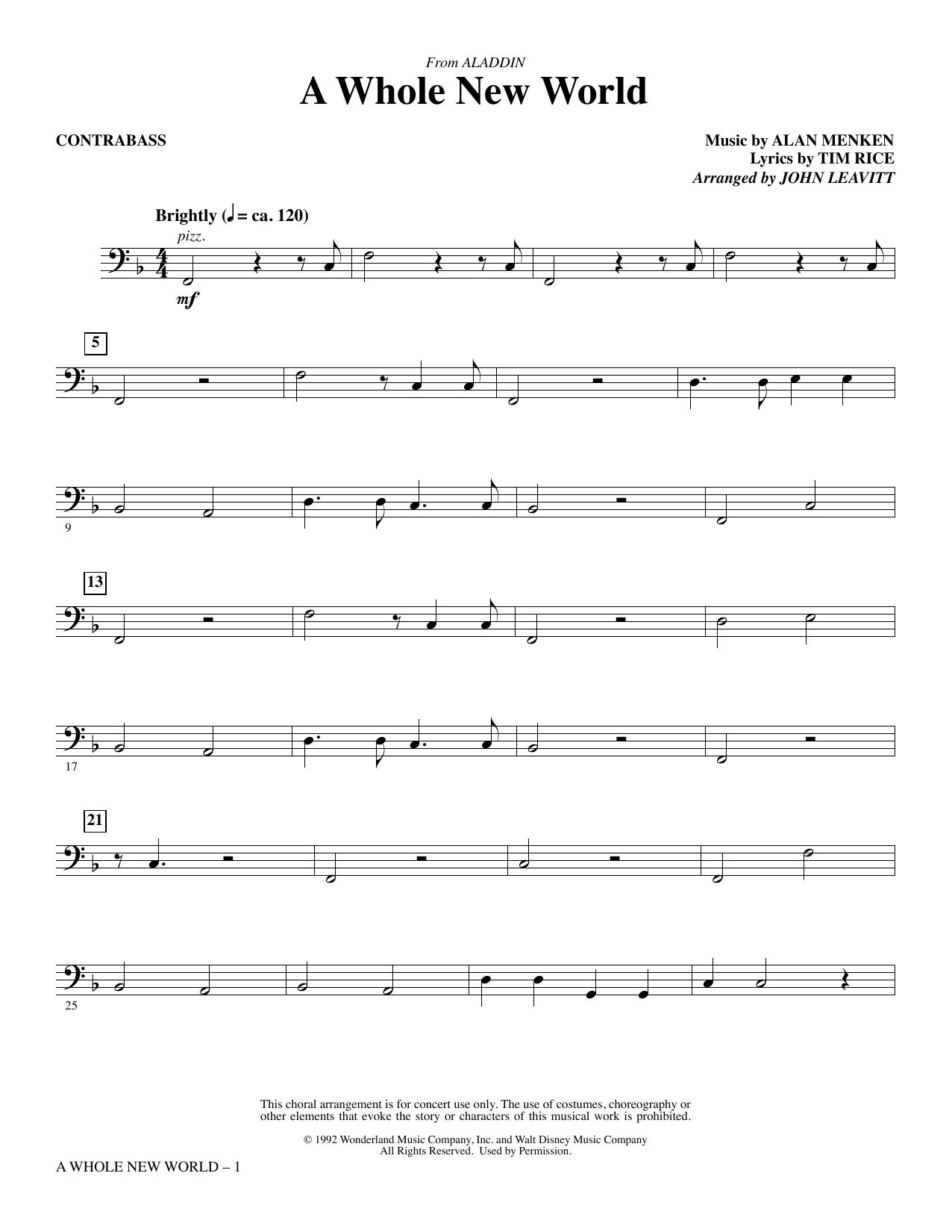 A Whole New World (from Aladdin) (arr. John Leavitt) - Contrabass (Choir Instrumental Pak)