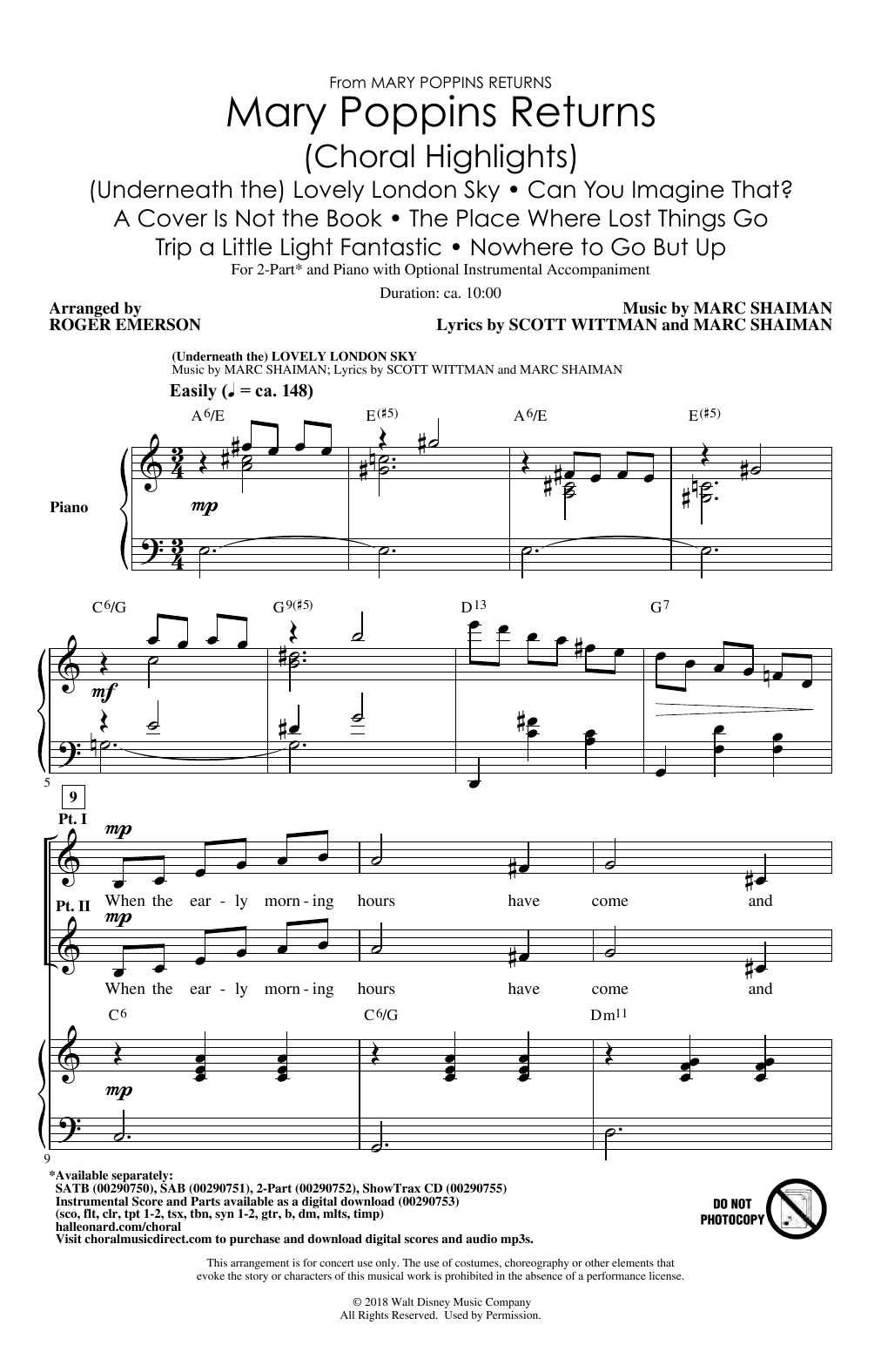 Mary Poppins Returns (Choral Highlights) (arr. Roger Emerson) Sheet Music