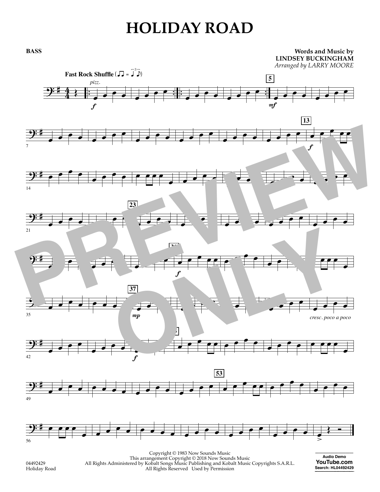 Holiday Road (from National Lampoon's Vacation) (arr. Larry Moore) - Bass (Orchestra)