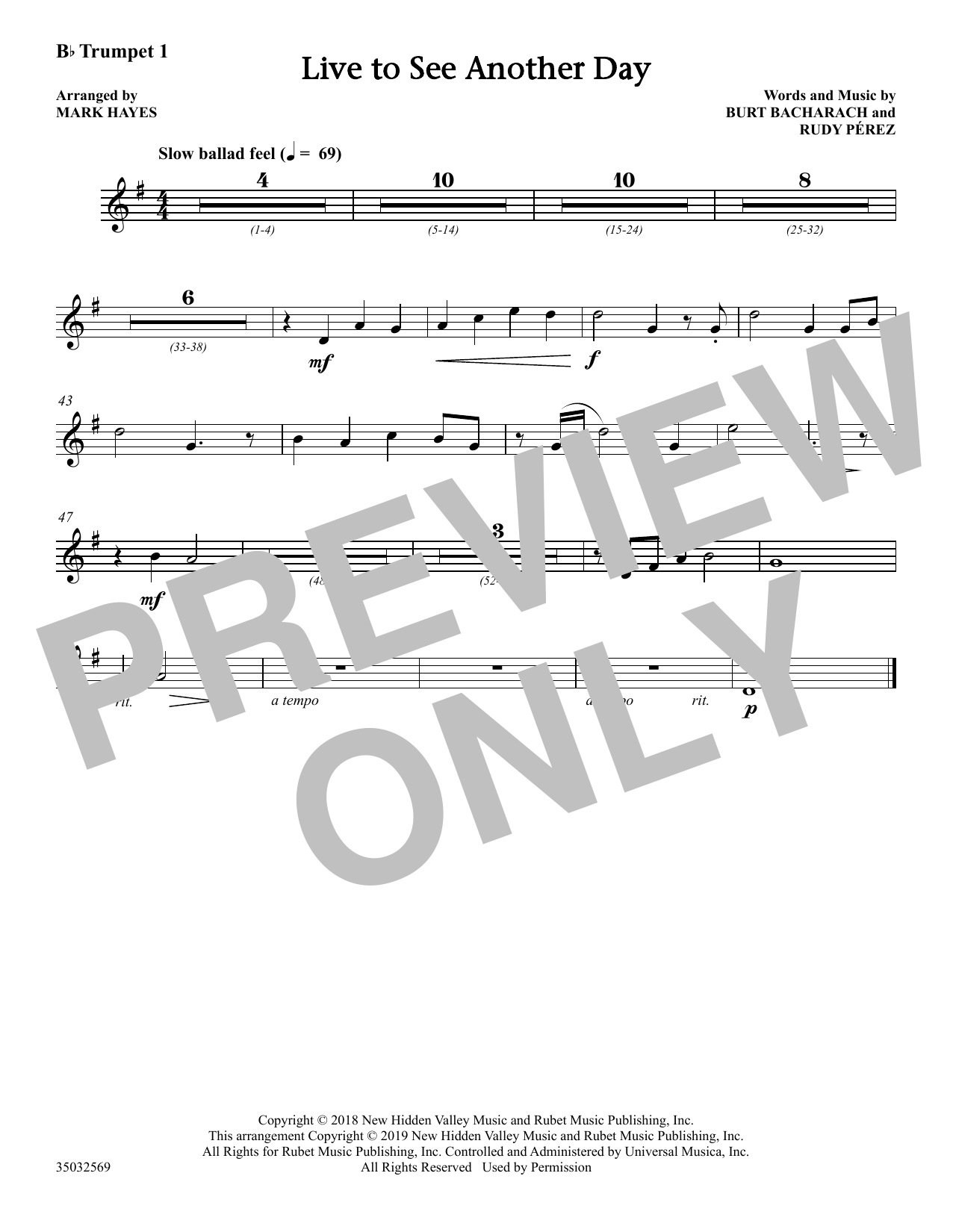 Live to See Another Day (arr  Mark Hayes) - Bb Trumpet 1 by Burt Bacharach  & Rudy Perez Choir Instrumental Pak Digital Sheet Music