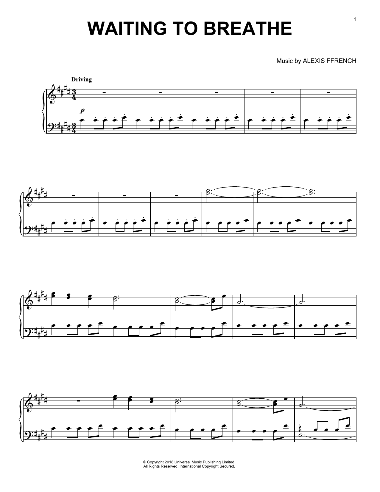 Waiting To Breathe (Piano Solo)