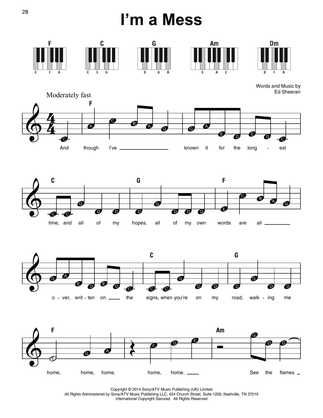 I'm A Mess (Super Easy Piano)