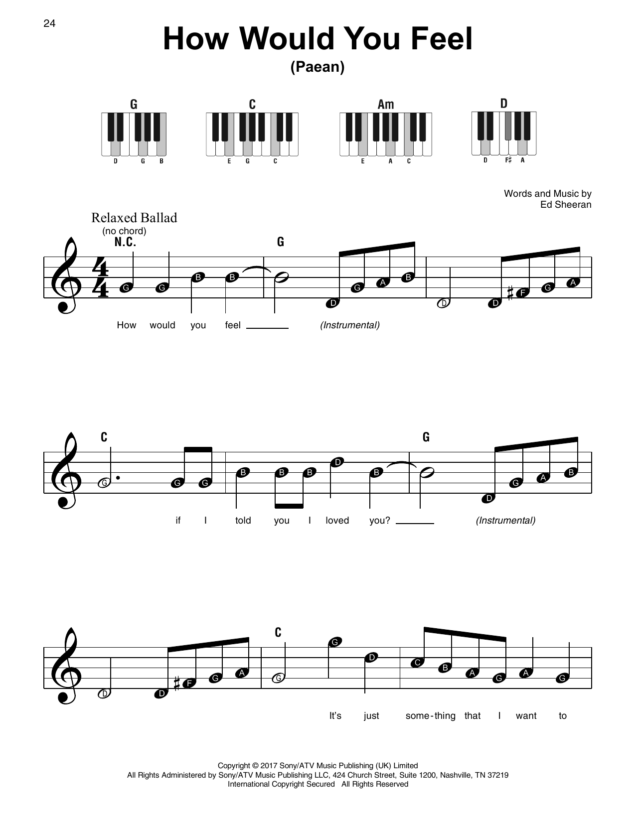 How Would You Feel (Paean) (Super Easy Piano)