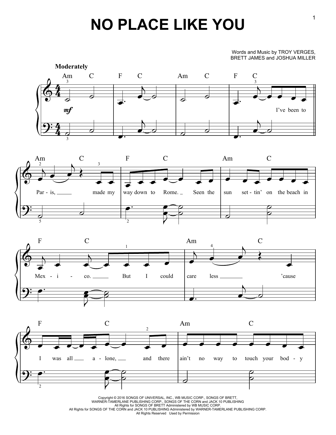 No Place Like You (Very Easy Piano)