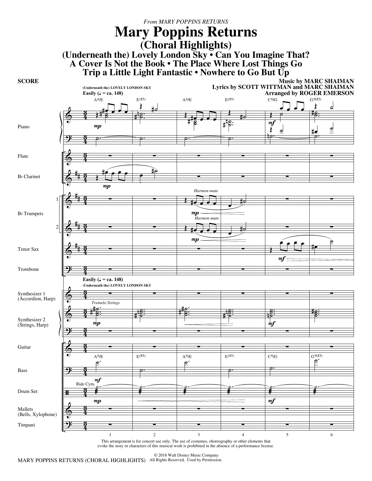 Mary Poppins Returns (Choral Highlights) (arr. Roger Emerson) - Score (Choir Instrumental Pak)