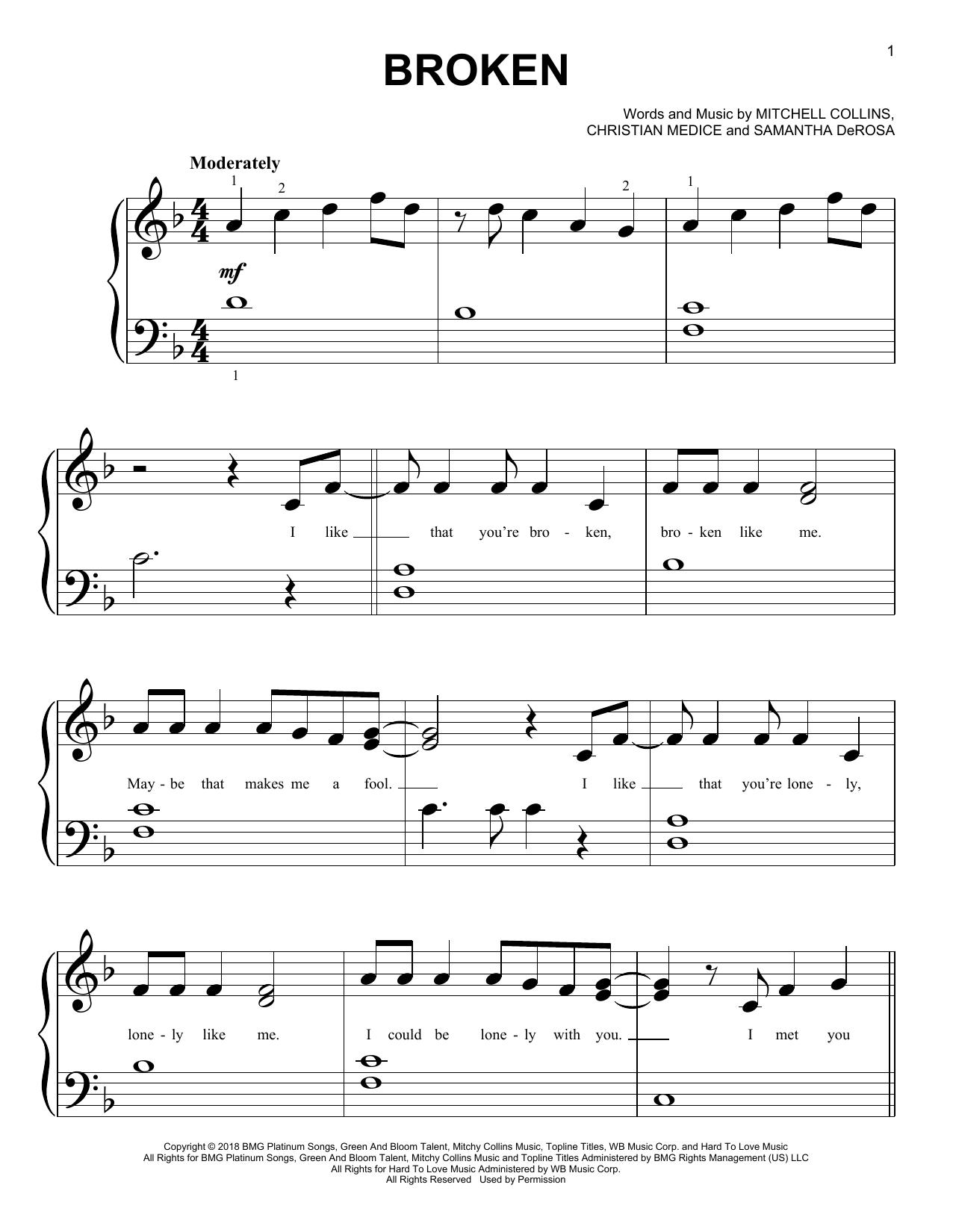 Broken (Big Note Piano)