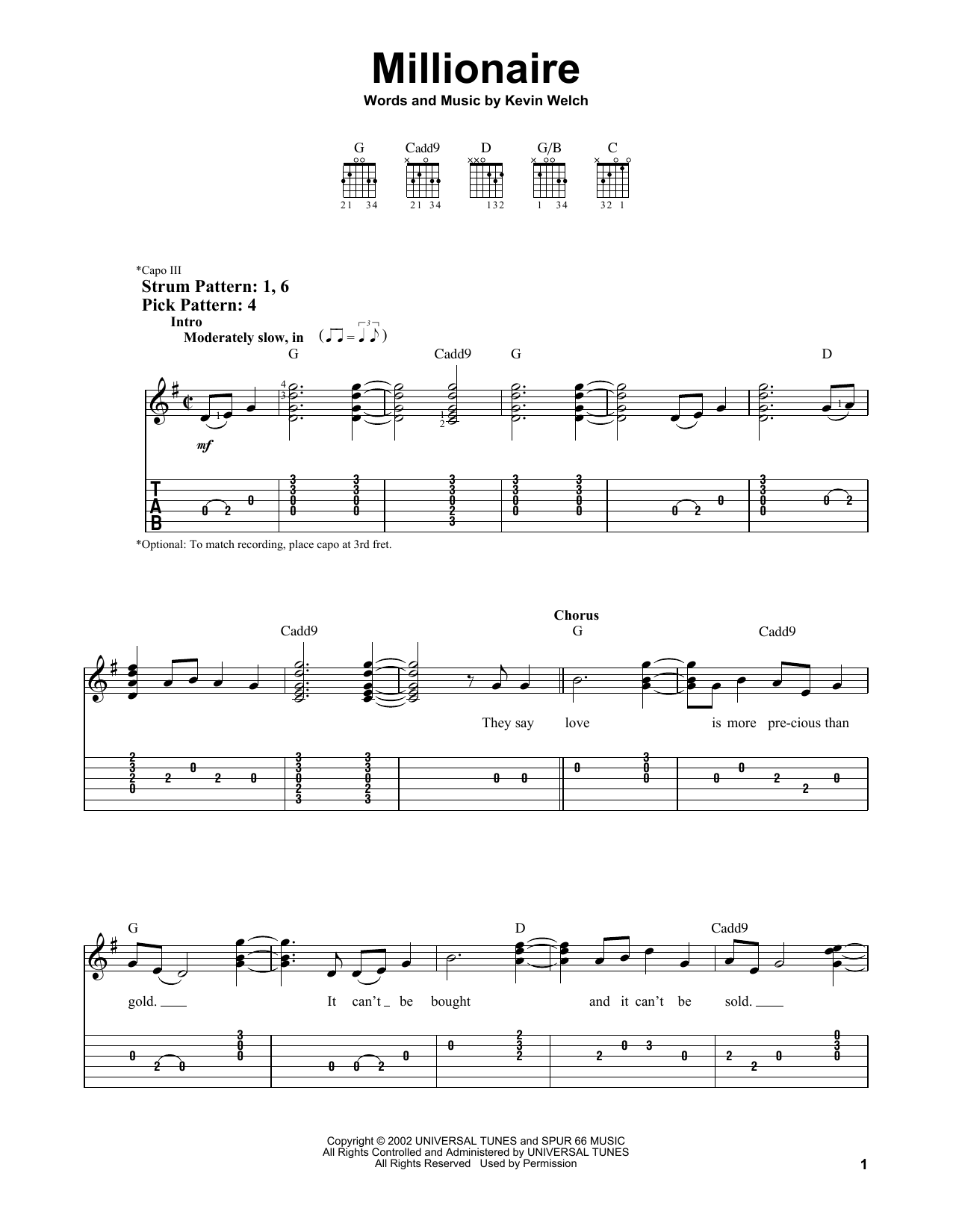 Millionaire (Easy Guitar Tab)