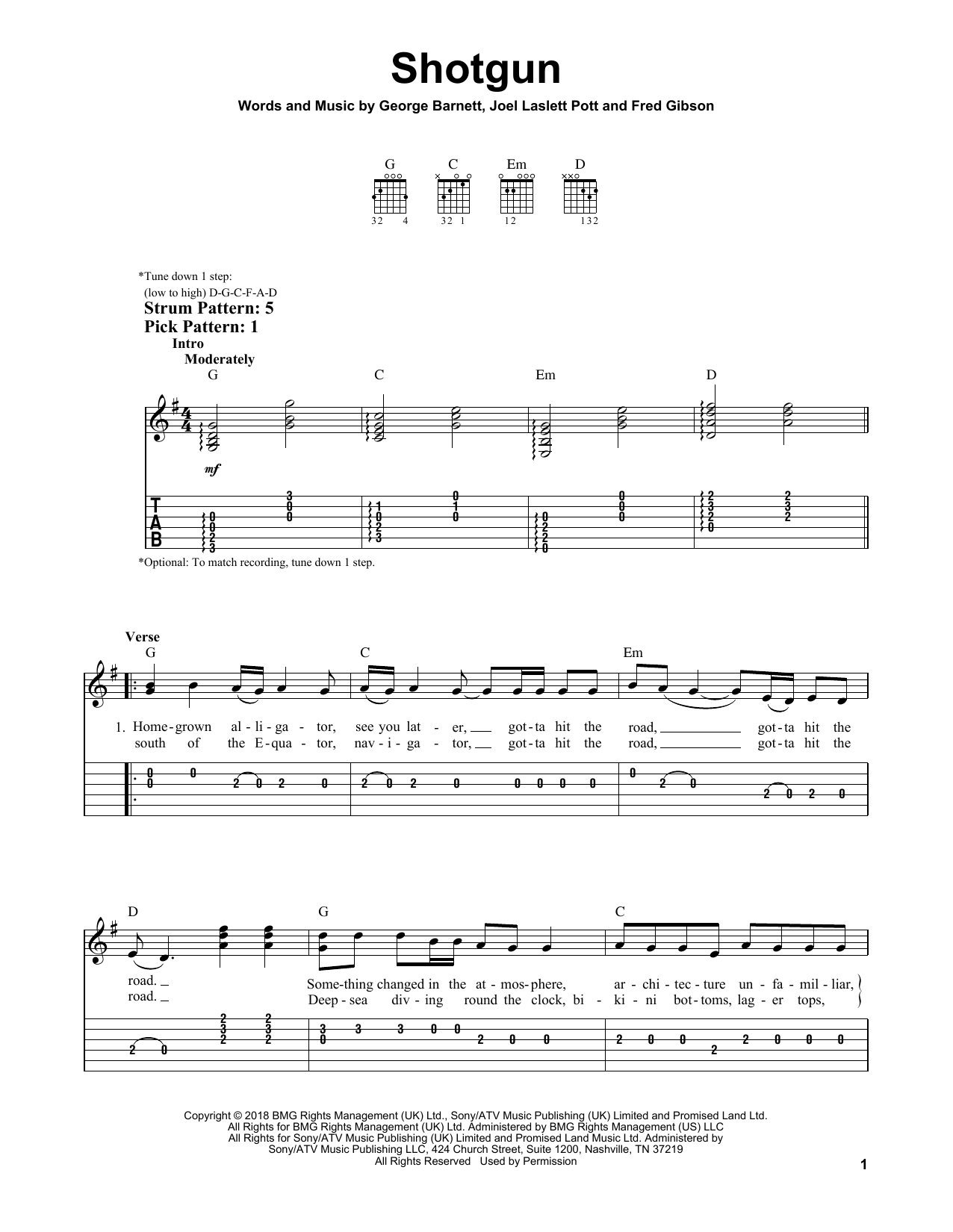Shotgun (Easy Guitar Tab)