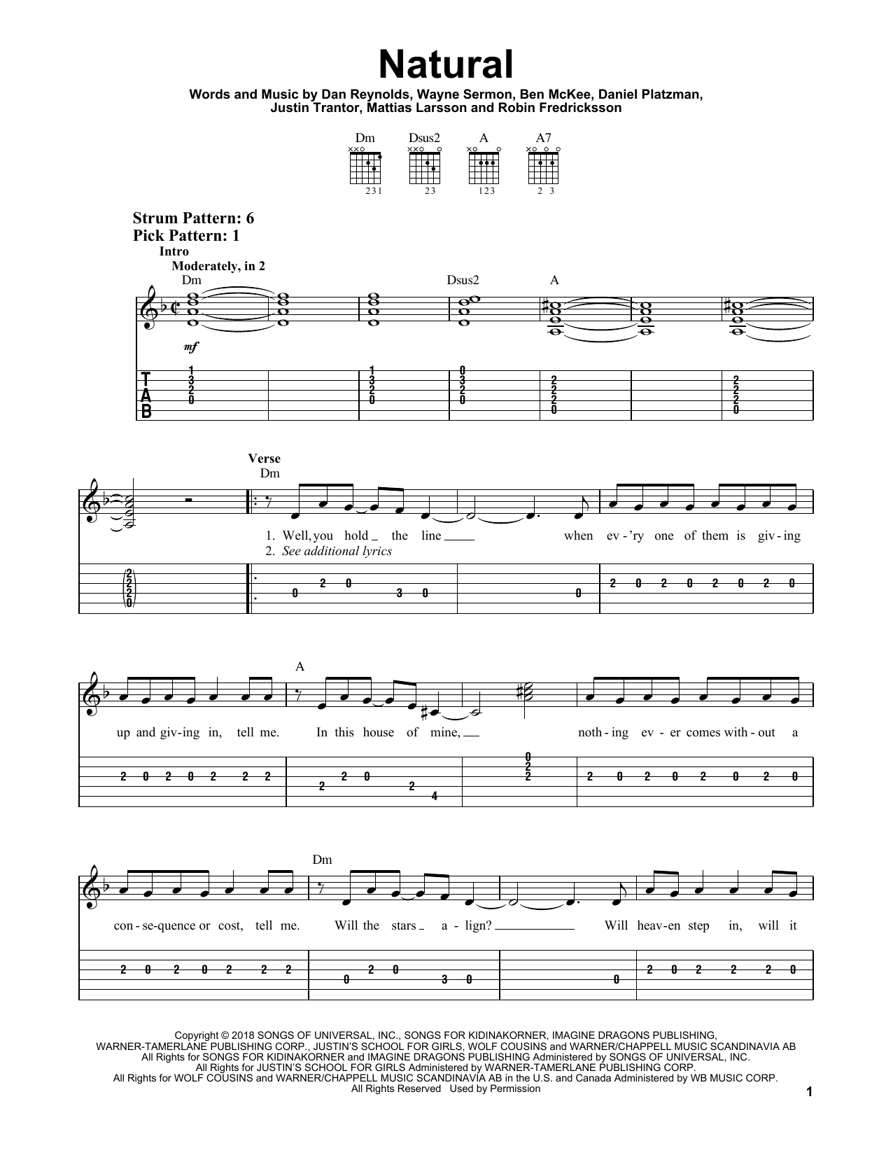 Natural (Easy Guitar Tab)