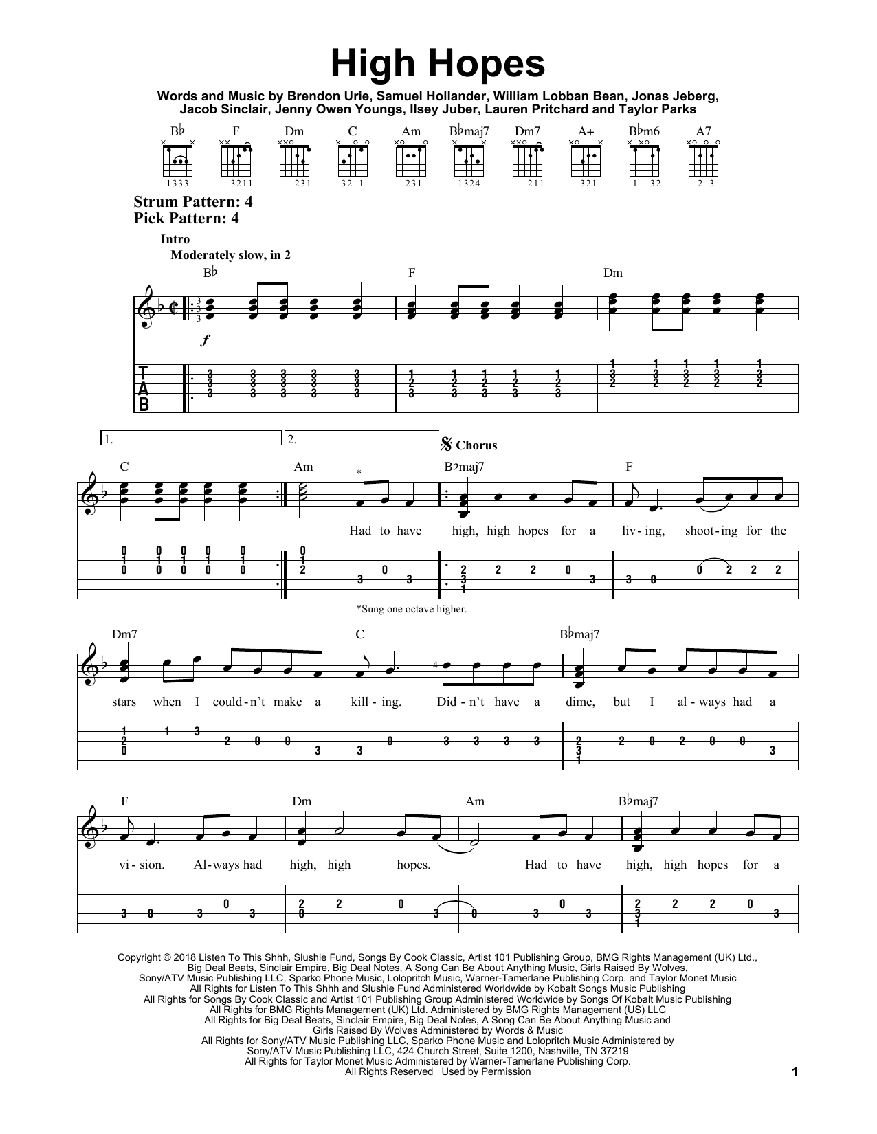 High Hopes (Easy Guitar Tab)