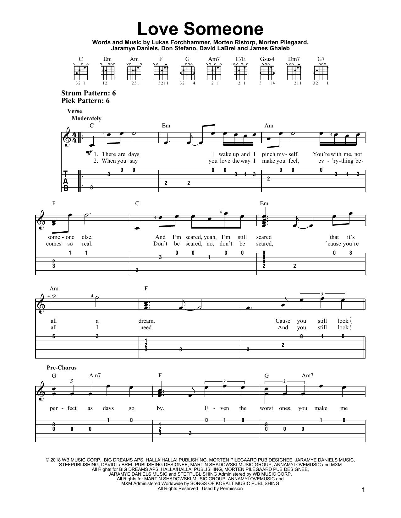 Love Someone (Easy Guitar Tab)