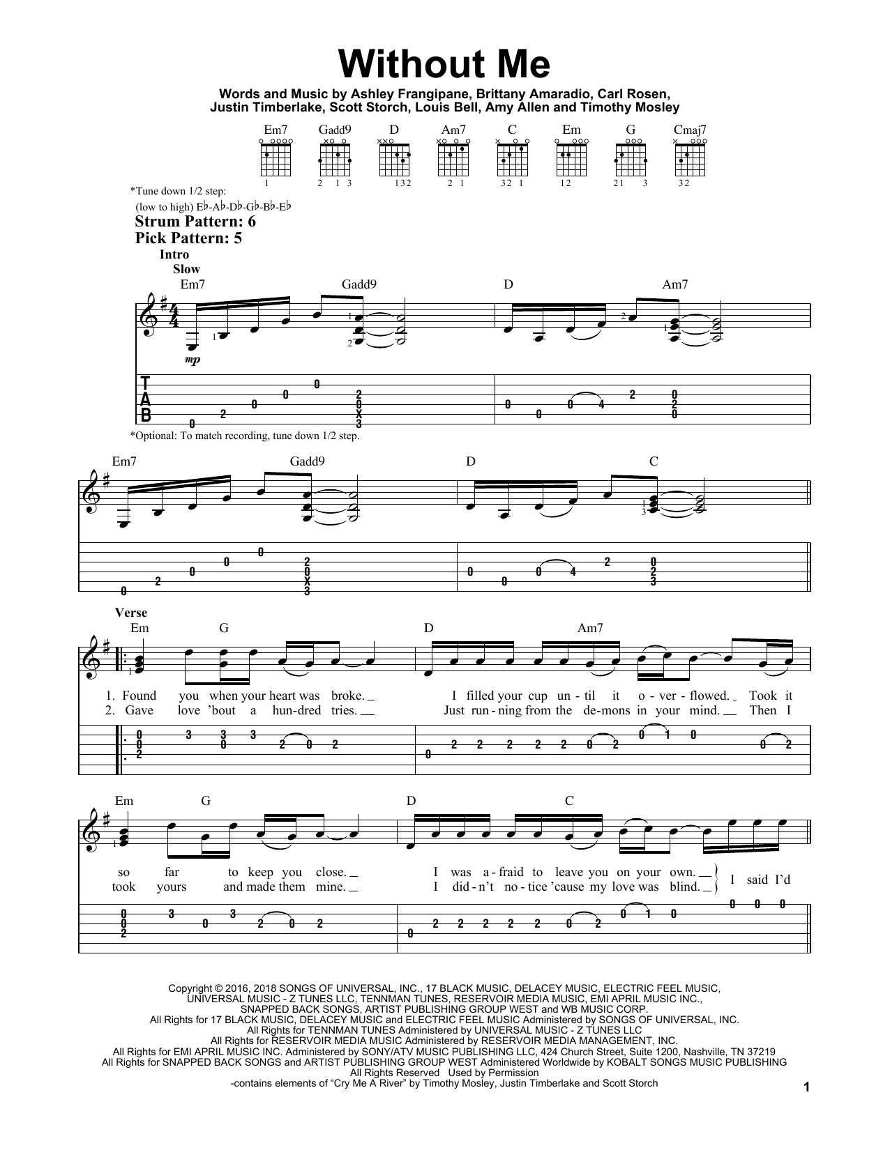 Without Me (Easy Guitar Tab)
