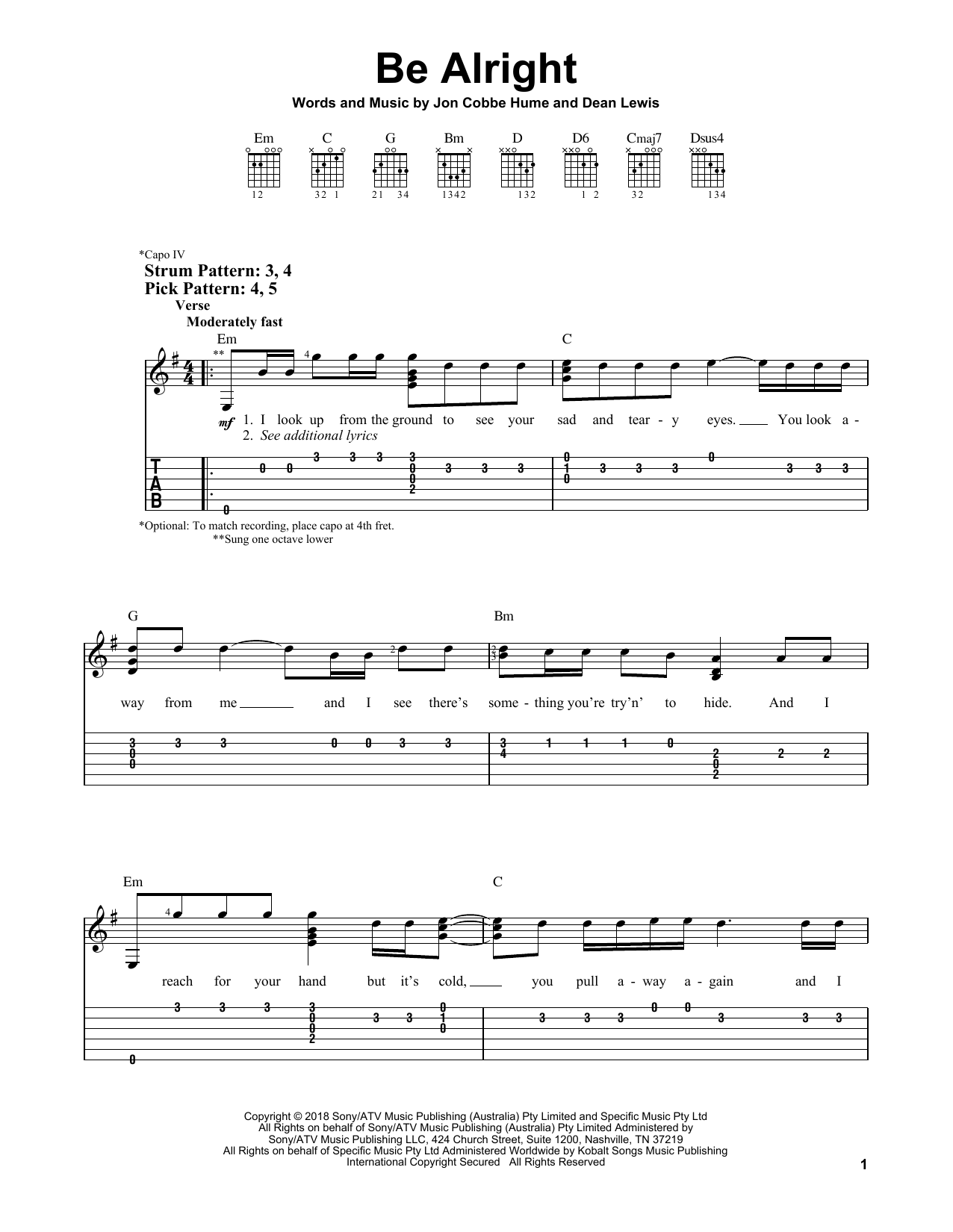Be Alright (Easy Guitar Tab)