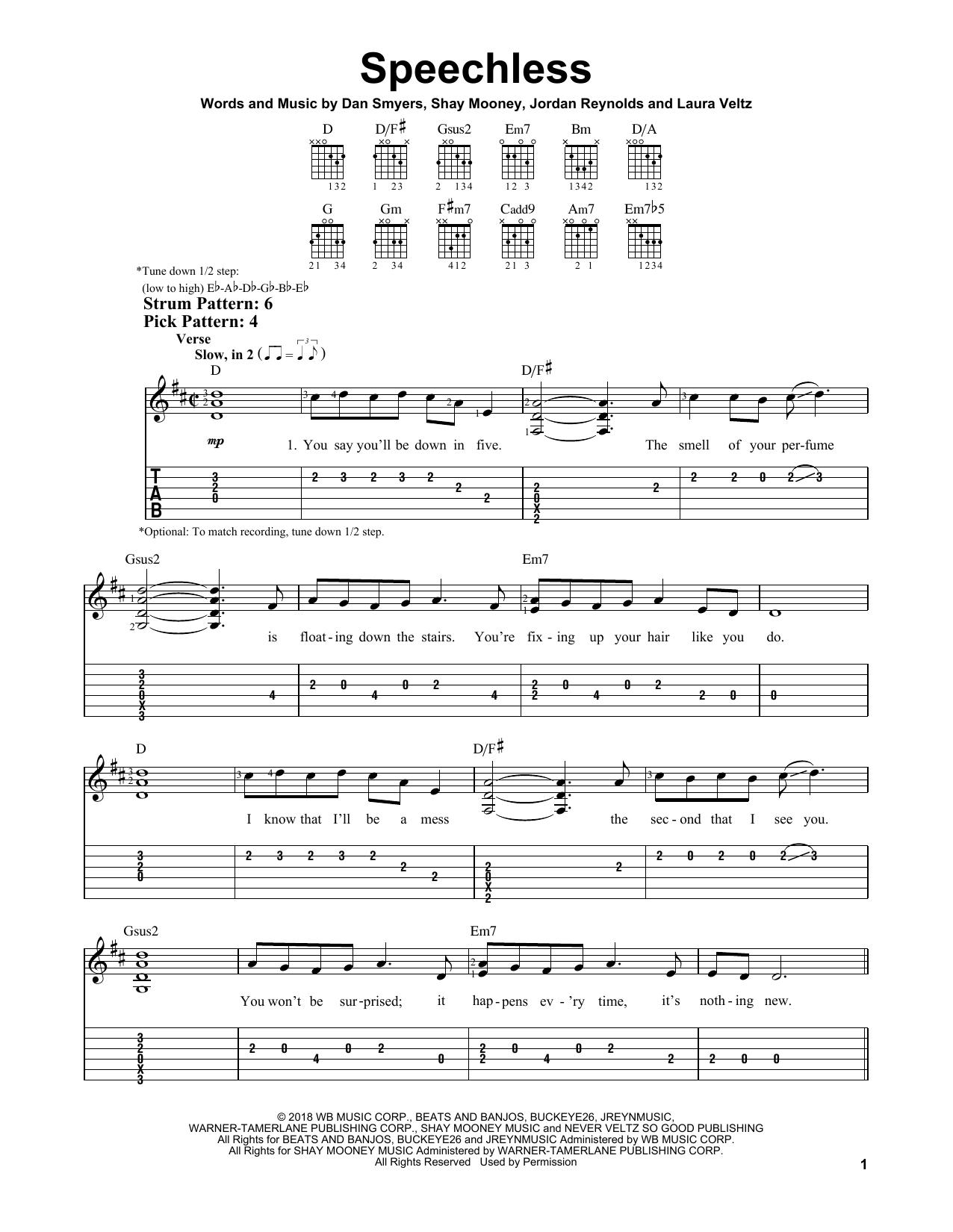 Speechless (Easy Guitar Tab)