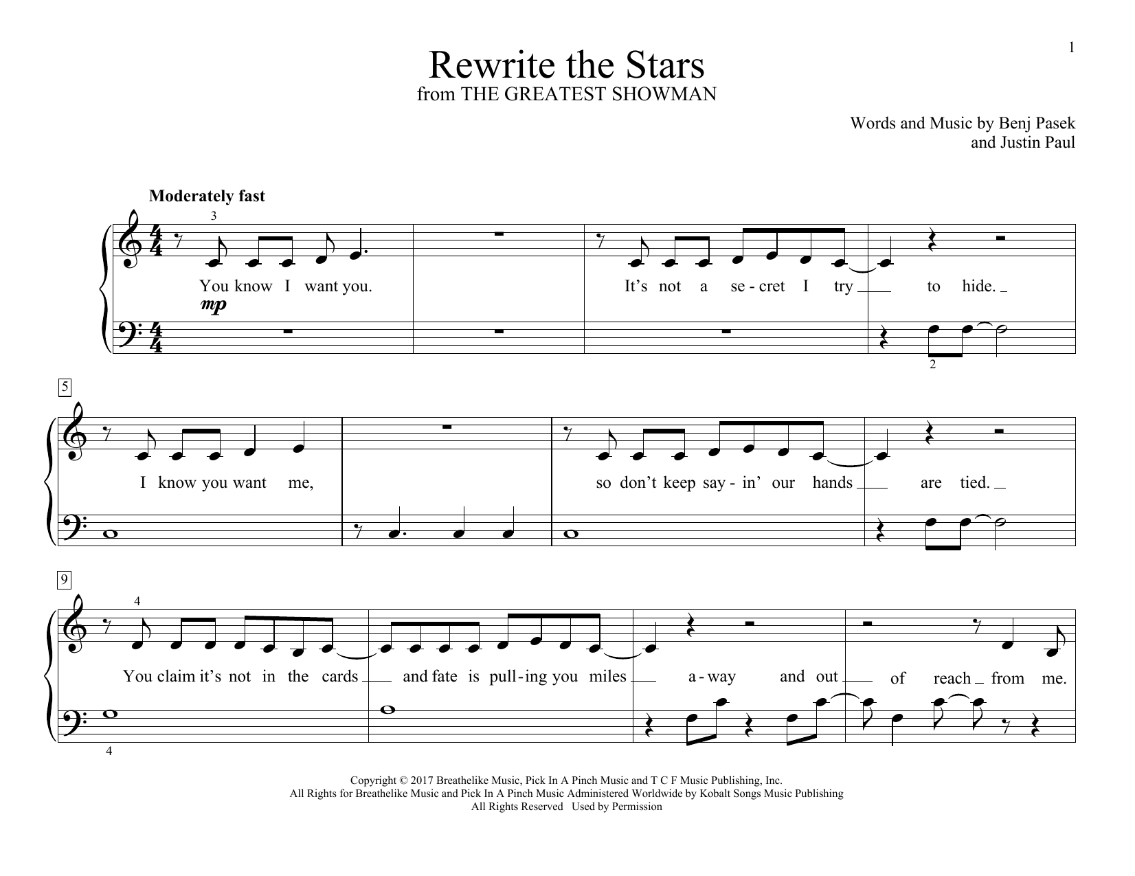 Rewrite The Stars (from The Greatest Showman) (Educational Piano)