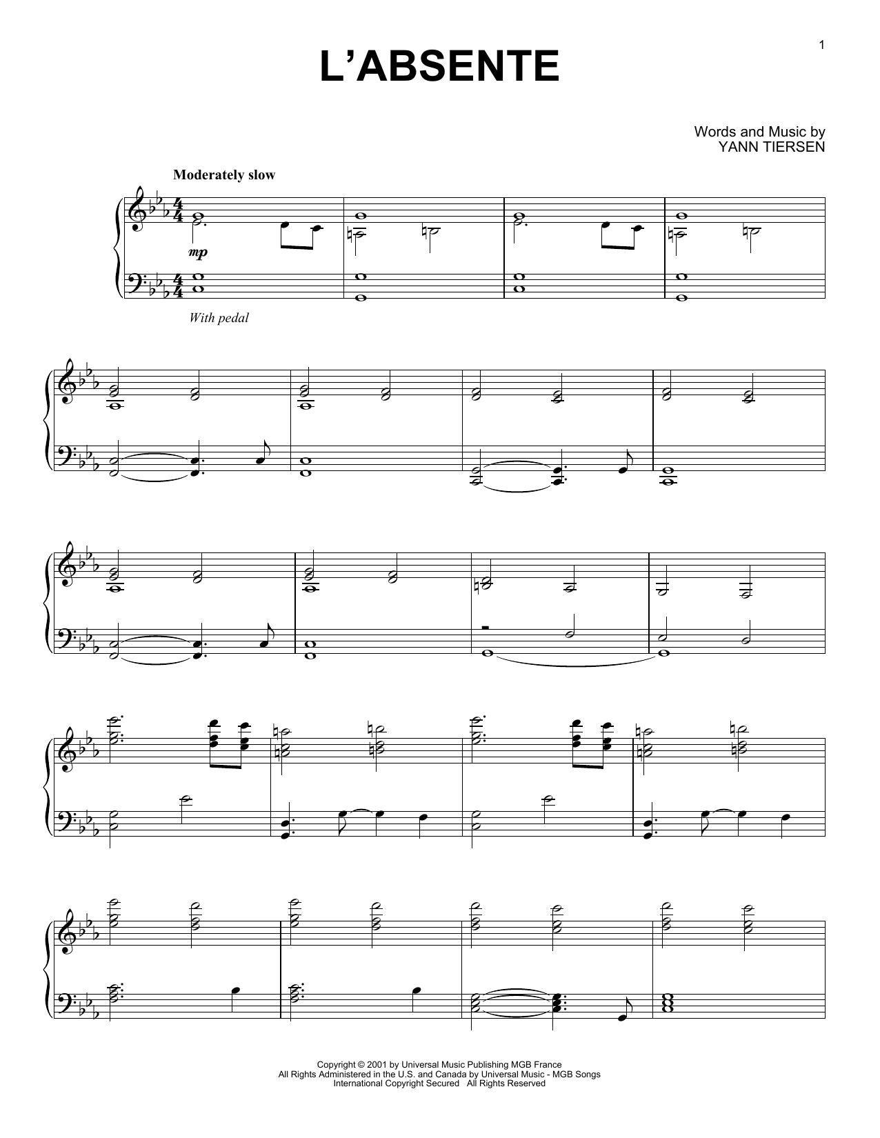 L'Absente (Piano Solo)