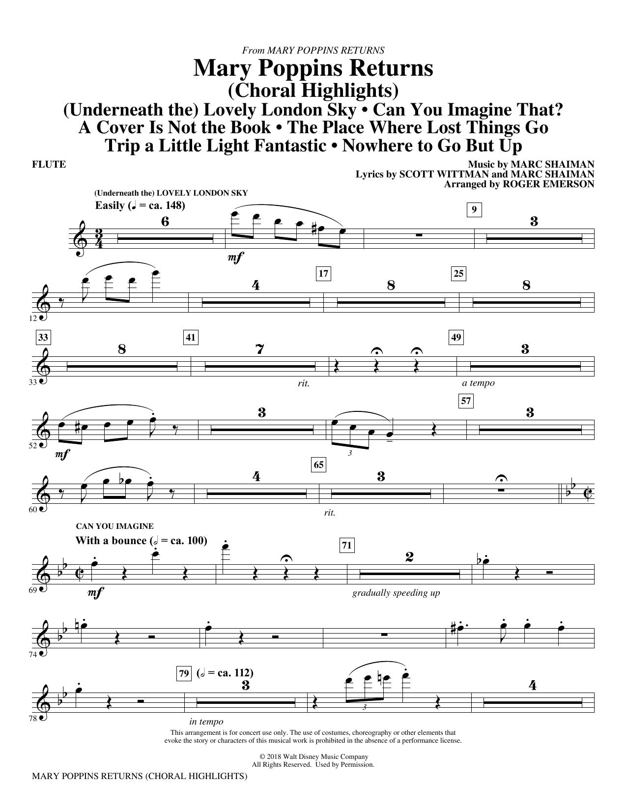 Mary Poppins Returns (Choral Highlights) (arr. Roger Emerson) - Flute (Choir Instrumental Pak)