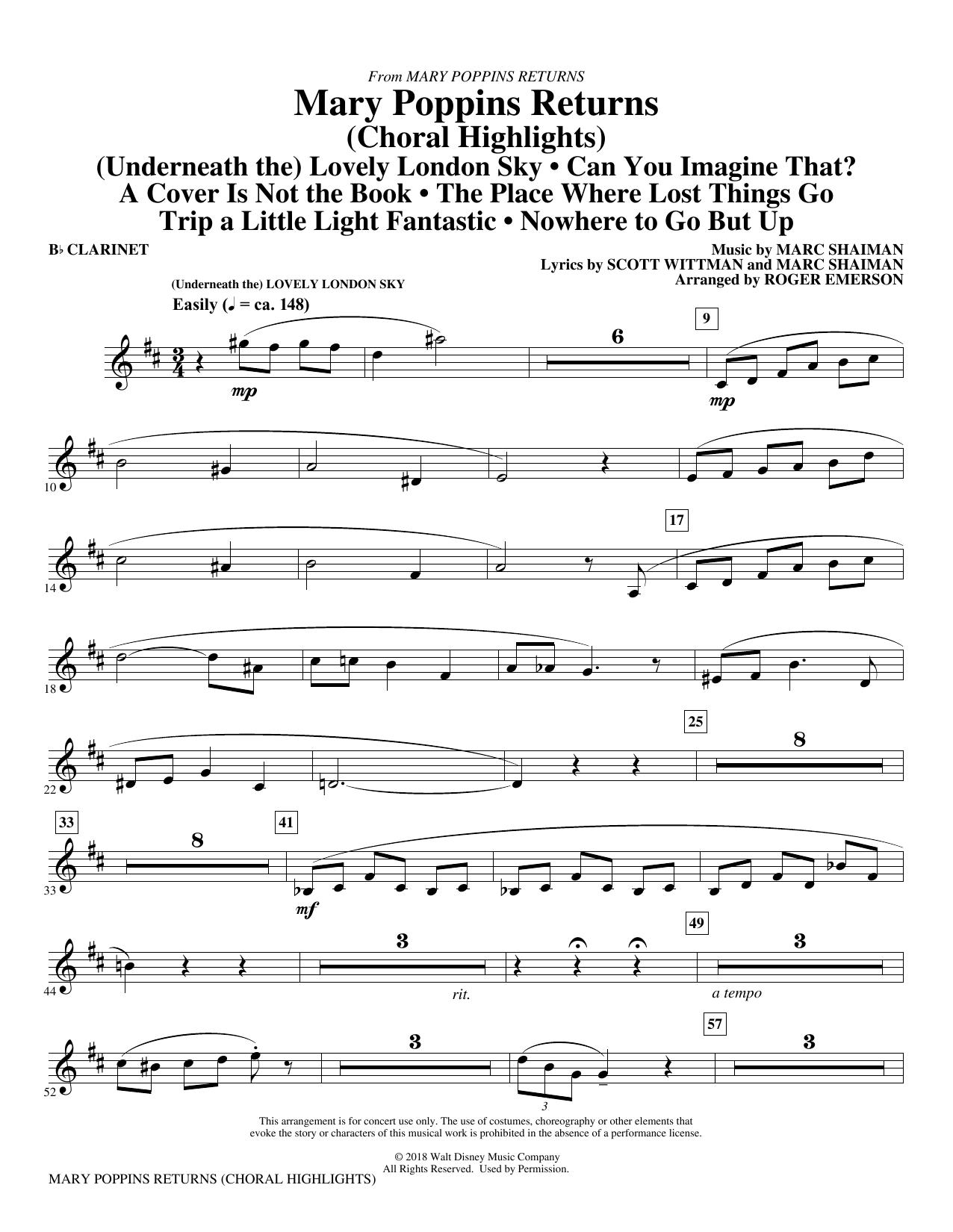 Mary Poppins Returns (Choral Highlights) (arr. Roger Emerson) - Bb Clarinet (Choir Instrumental Pak)