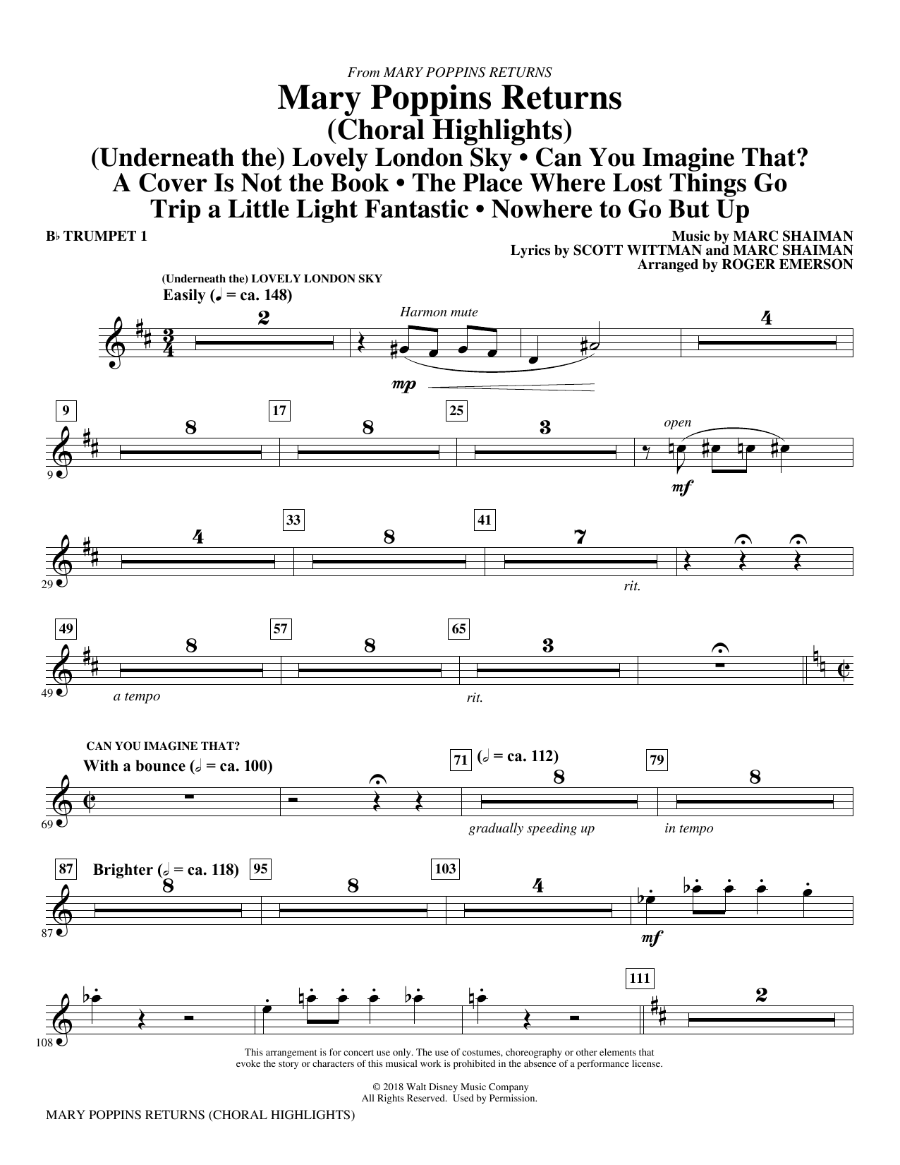 Mary Poppins Returns (Choral Highlights) (arr. Roger Emerson) - Bb Trumpet 1 (Choir Instrumental Pak)