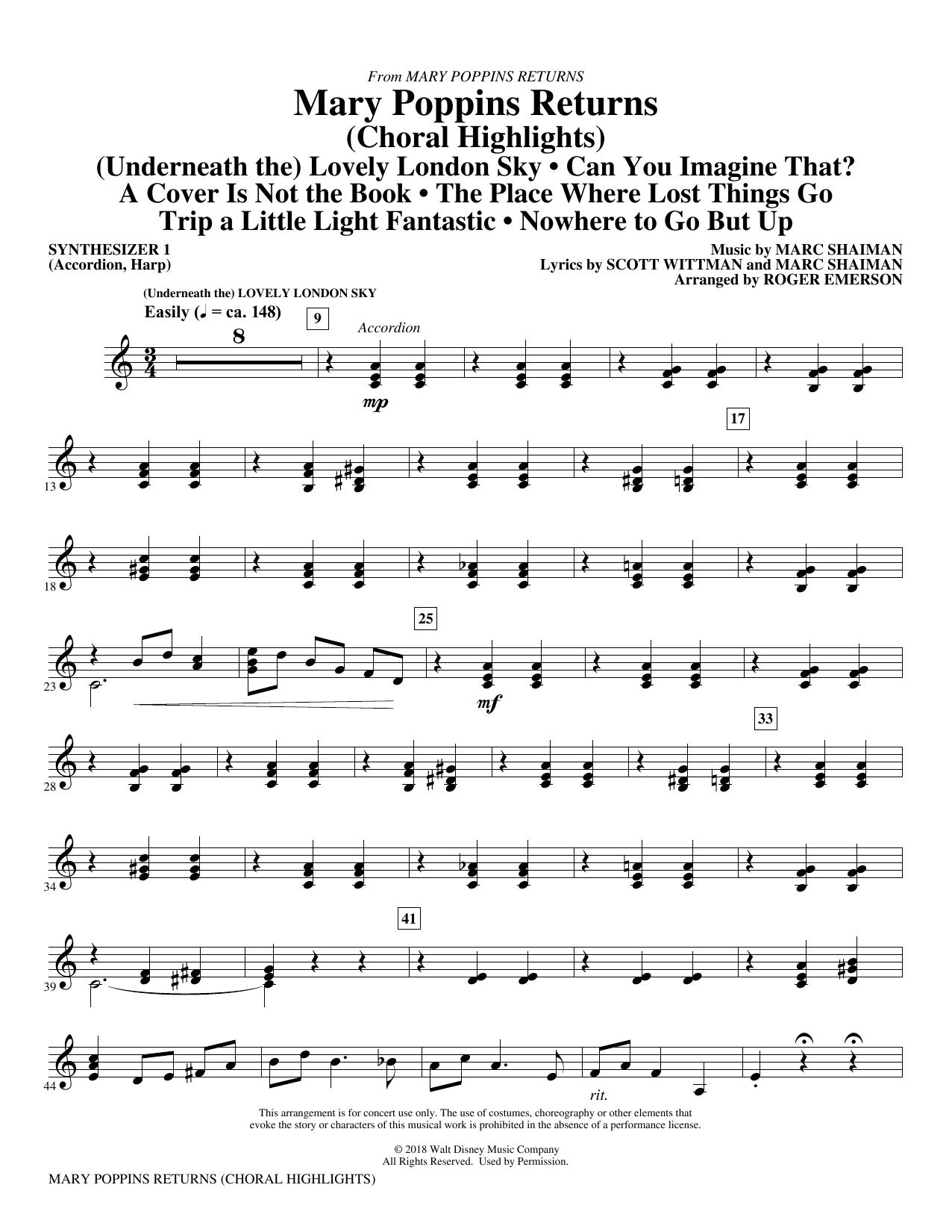 Mary Poppins Returns (Choral Highlights) (arr. Roger Emerson) - Synth 1 (Choir Instrumental Pak)