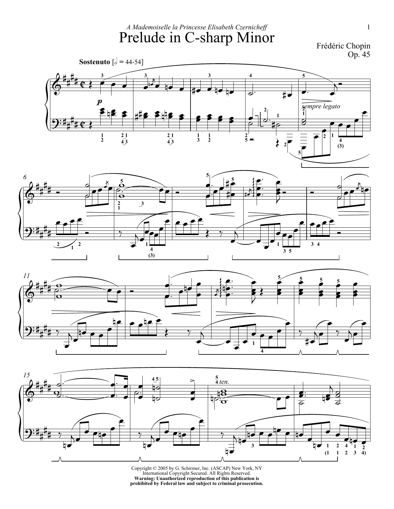 Prelude, Op. 45 Sheet Music