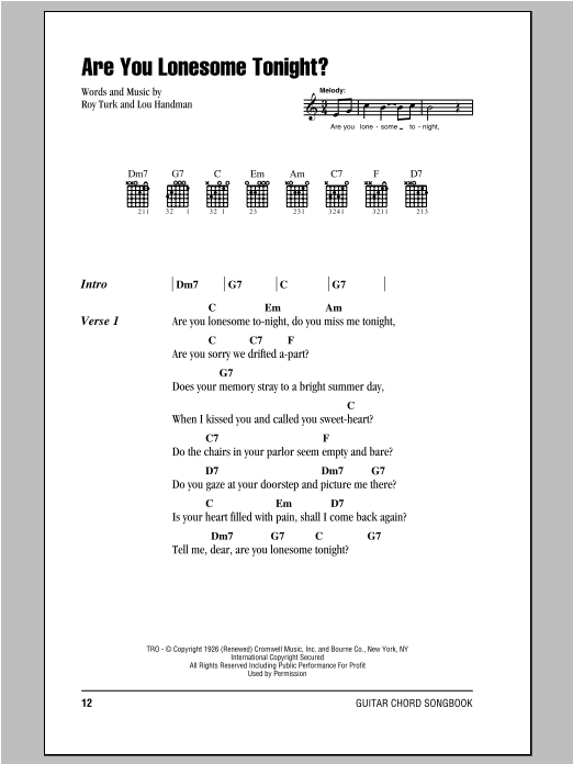 Are You Lonesome Tonight? Sheet Music