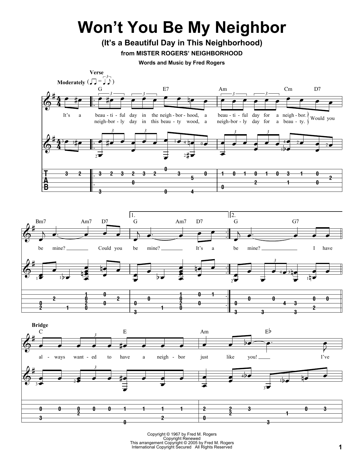 Won't You Be My Neighbor? (It's A Beautiful Day In The Neighborhood) Sheet Music