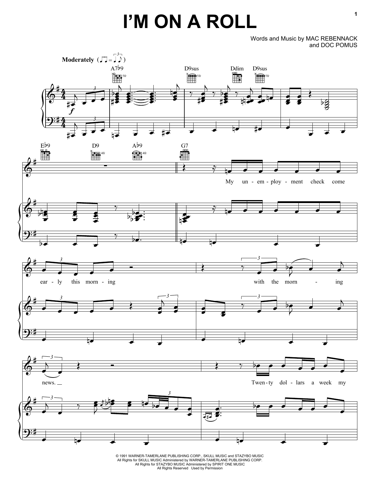 I'm On A Roll (Piano, Vocal & Guitar (Right-Hand Melody))