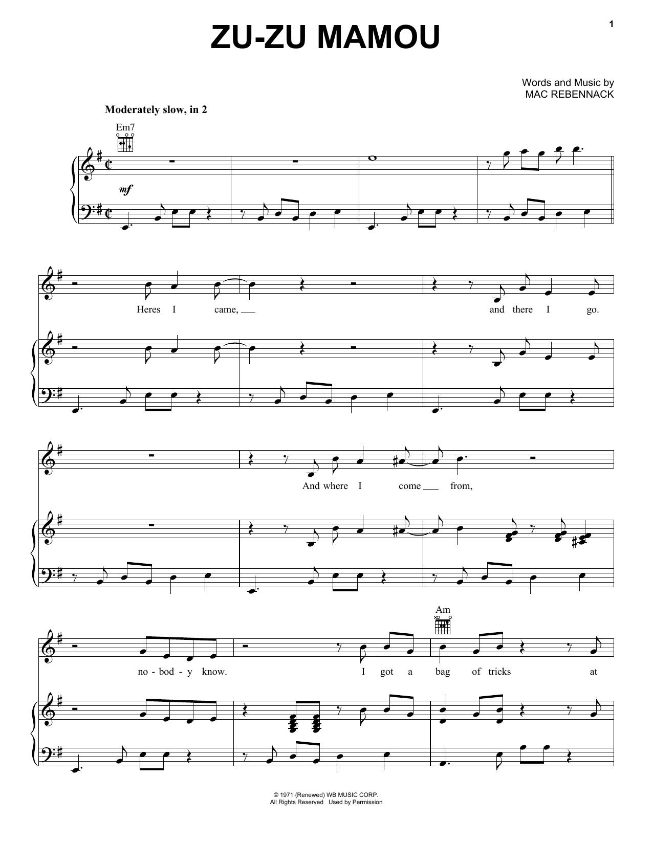 Zu-Zu Mamou (Piano, Vocal & Guitar (Right-Hand Melody))
