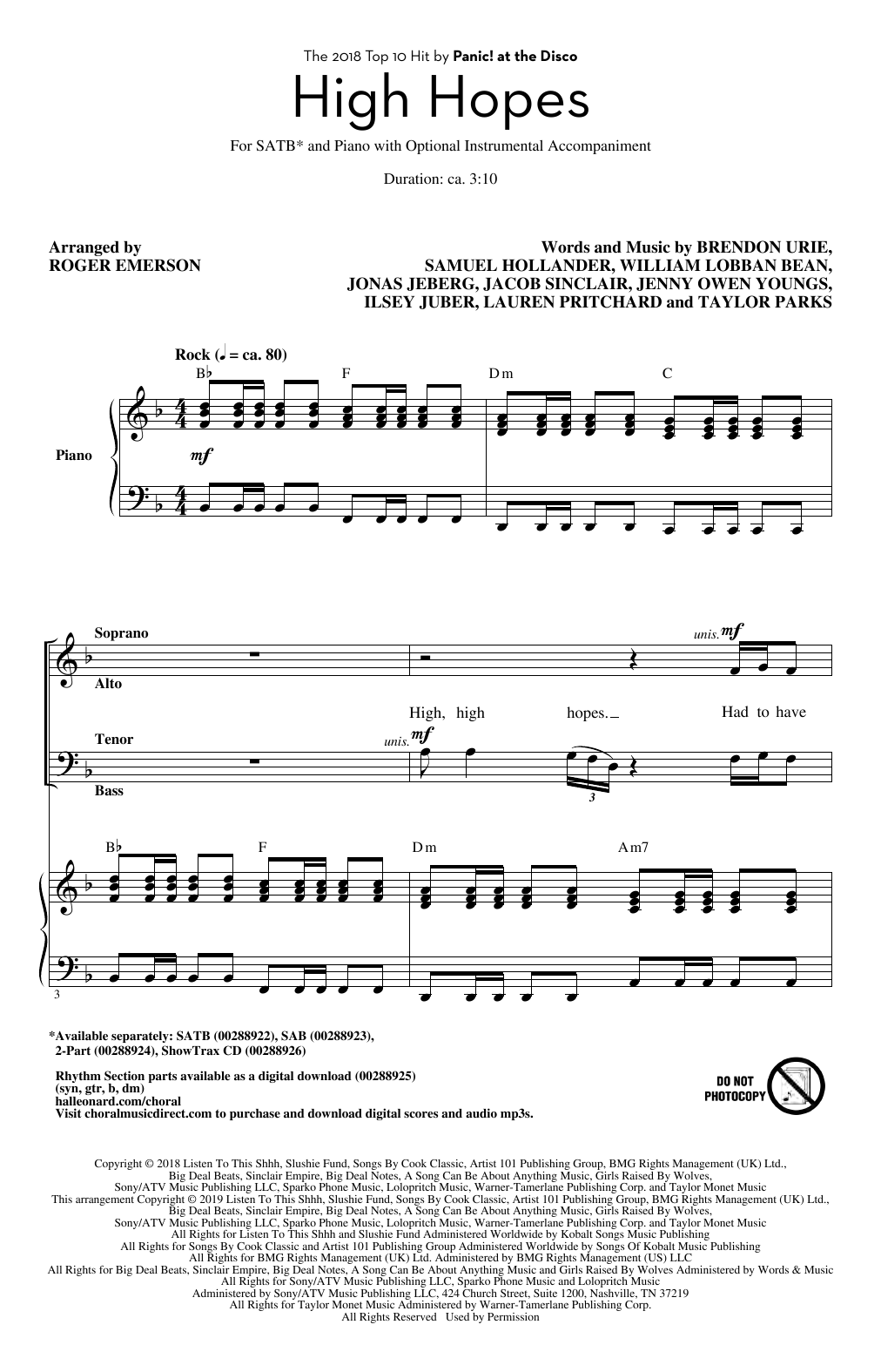 High Hopes (arr. Roger Emerson) (SATB Choir)