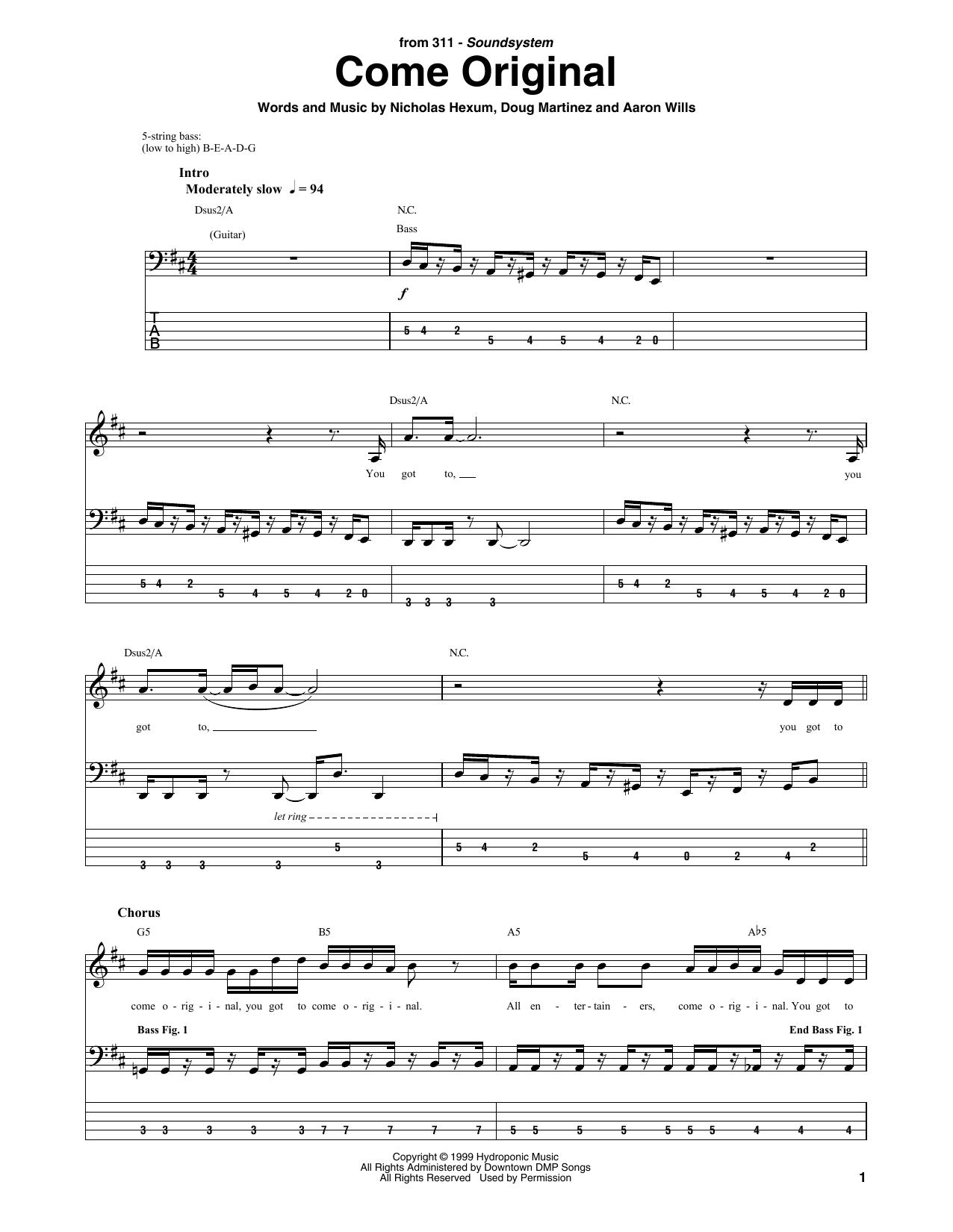 Come Original (Bass Guitar Tab)