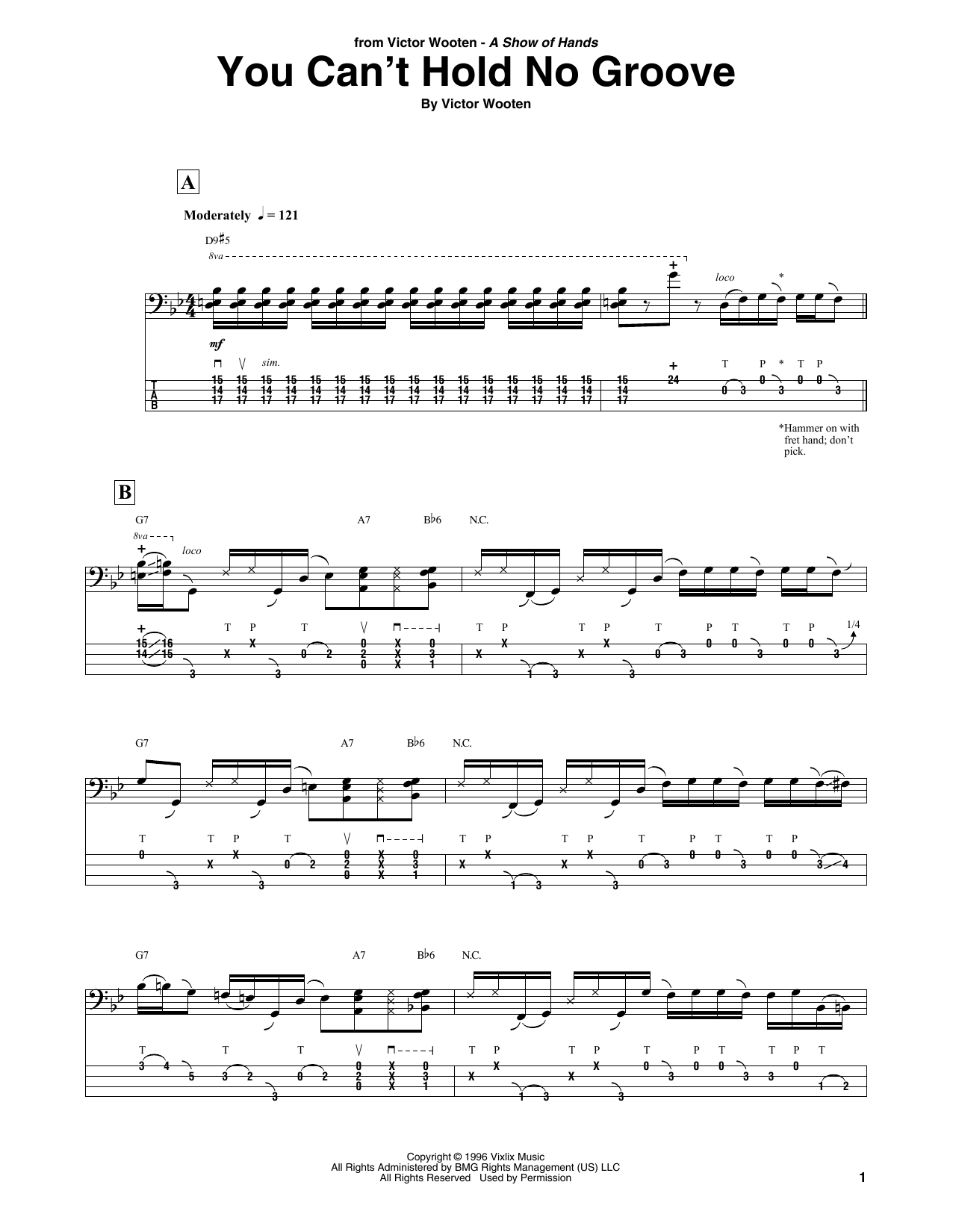 You Can't Hold No Groove (Bass Guitar Tab)