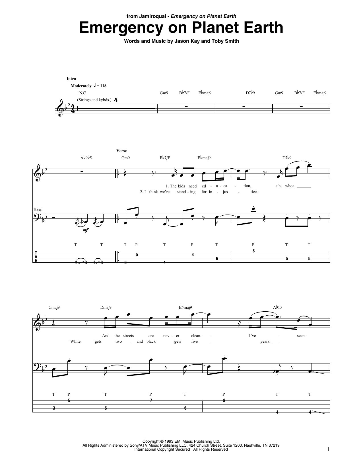 Emergency On Planet Earth (Bass Guitar Tab)