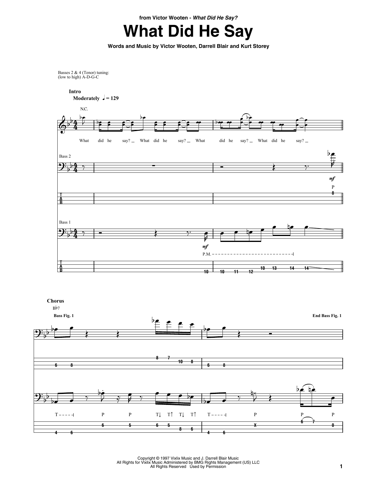 What Did He Say (Bass Guitar Tab)