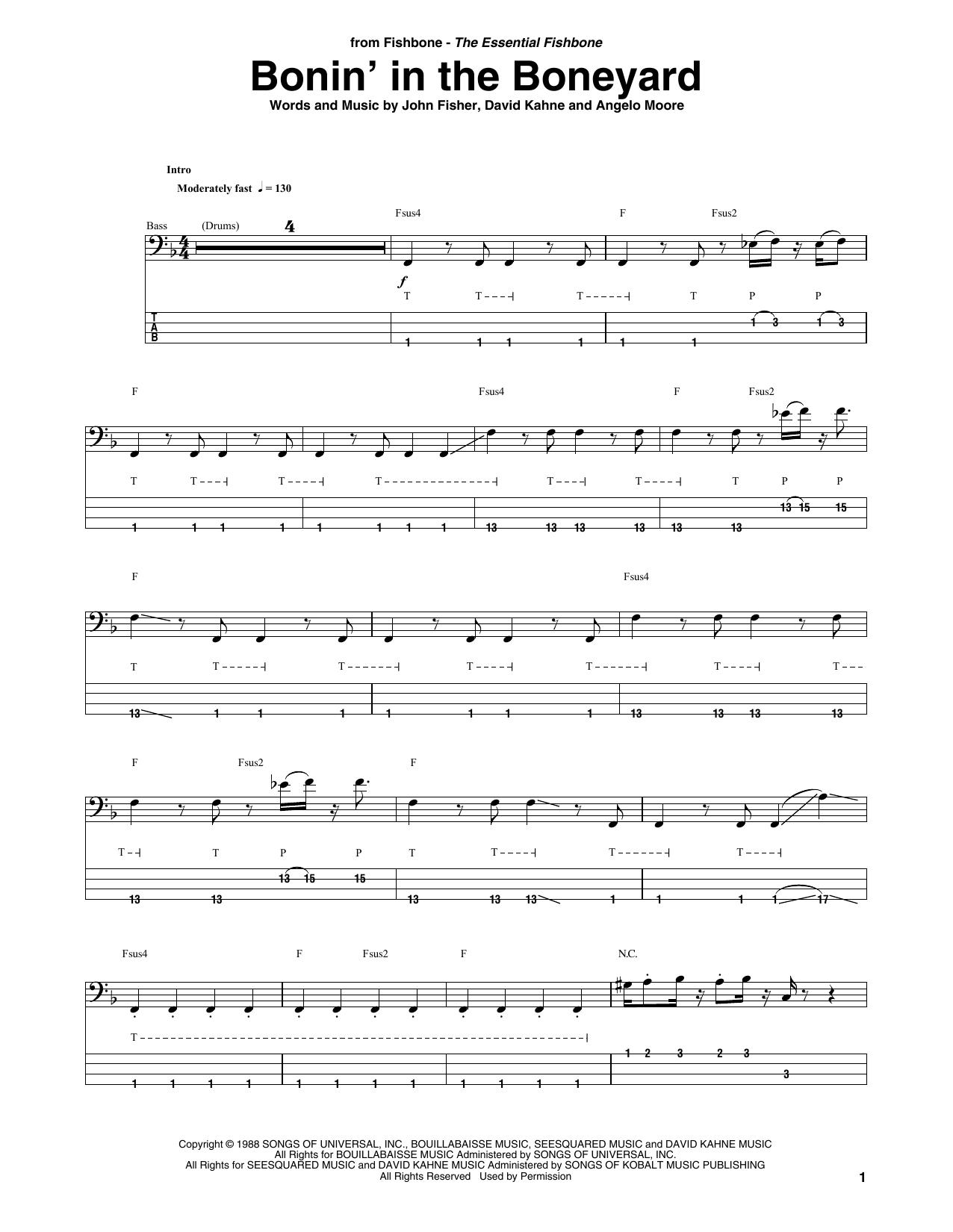 Bonin' In The Boneyard (Bass Guitar Tab)