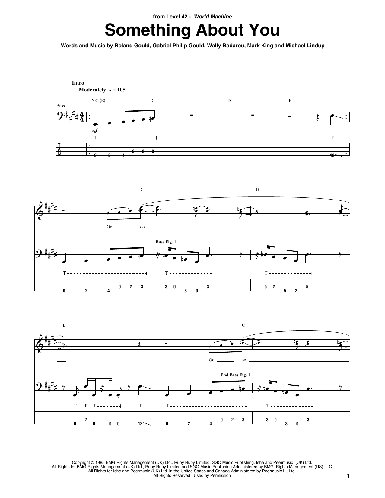 Something About You (Bass Guitar Tab)