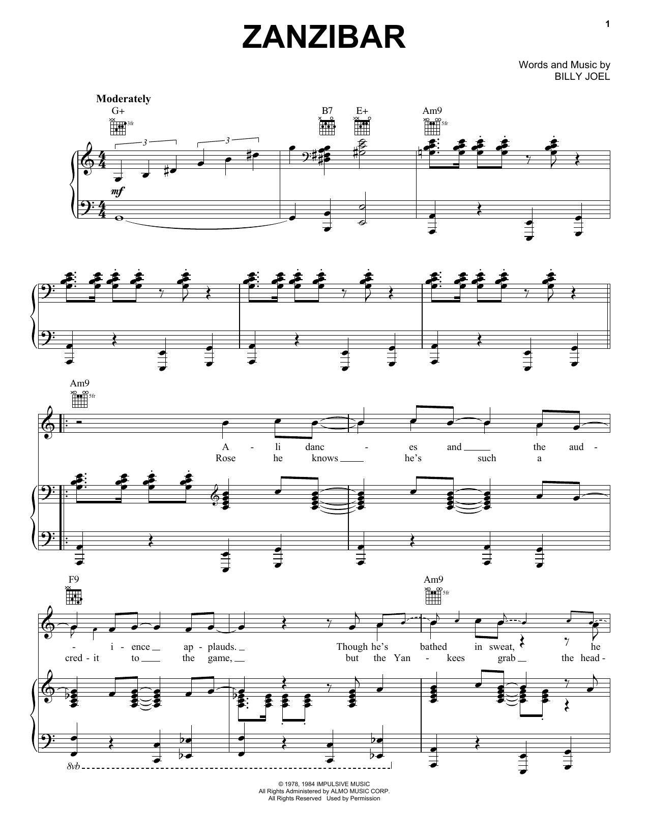Zanzibar (Piano, Vocal & Guitar (Right-Hand Melody))