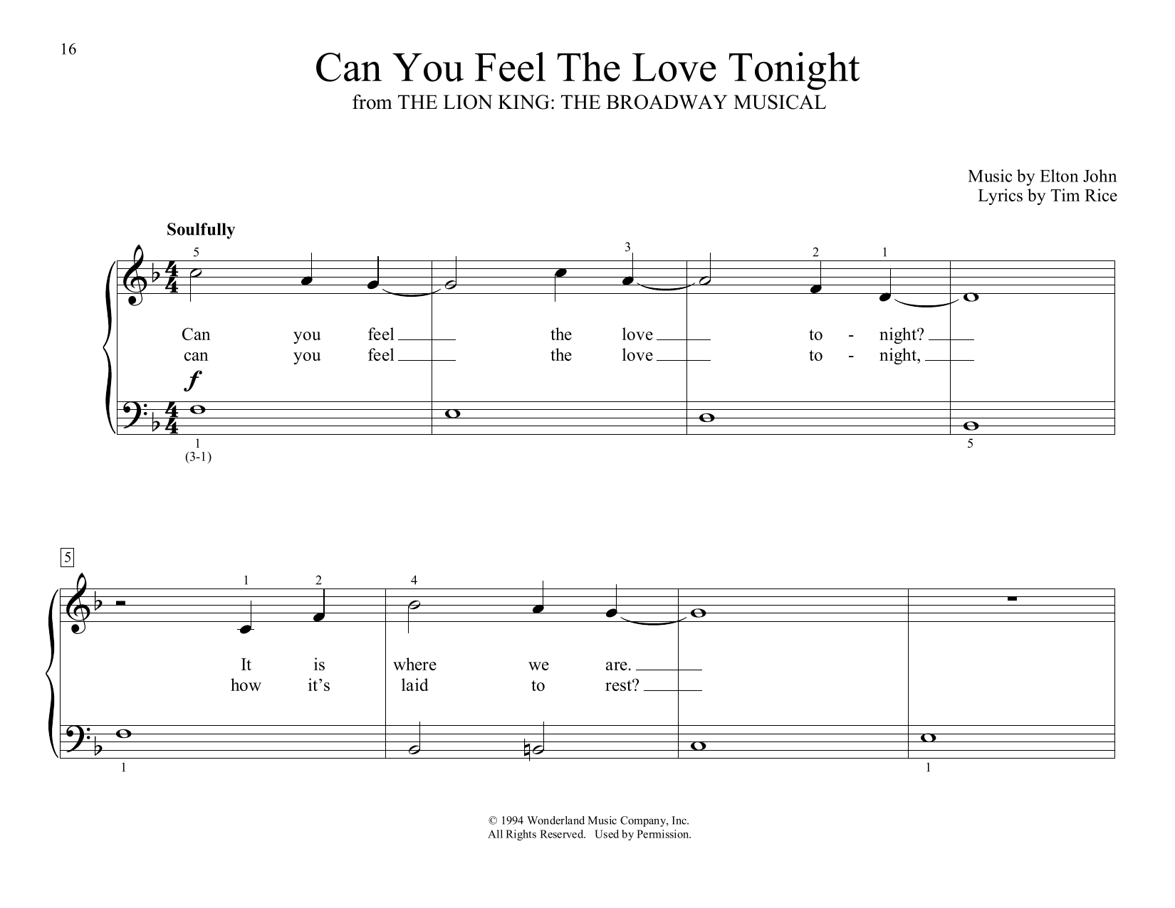 Can You Feel the Love Tonight (from The Lion King) (arr. Christopher Hussey) (Educational Piano)