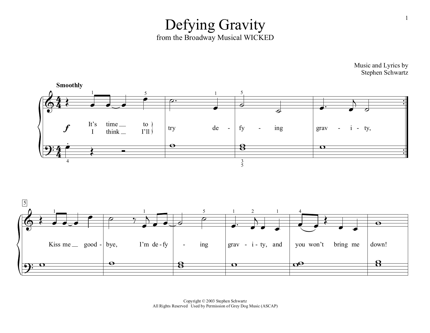Defying Gravity (from Wicked) (arr. Christopher Hussey) (Educational Piano)