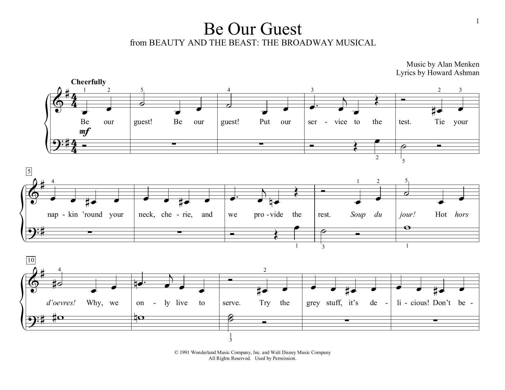 Be Our Guest (from Beauty and The Beast) (arr. Christopher Hussey) (Educational Piano)