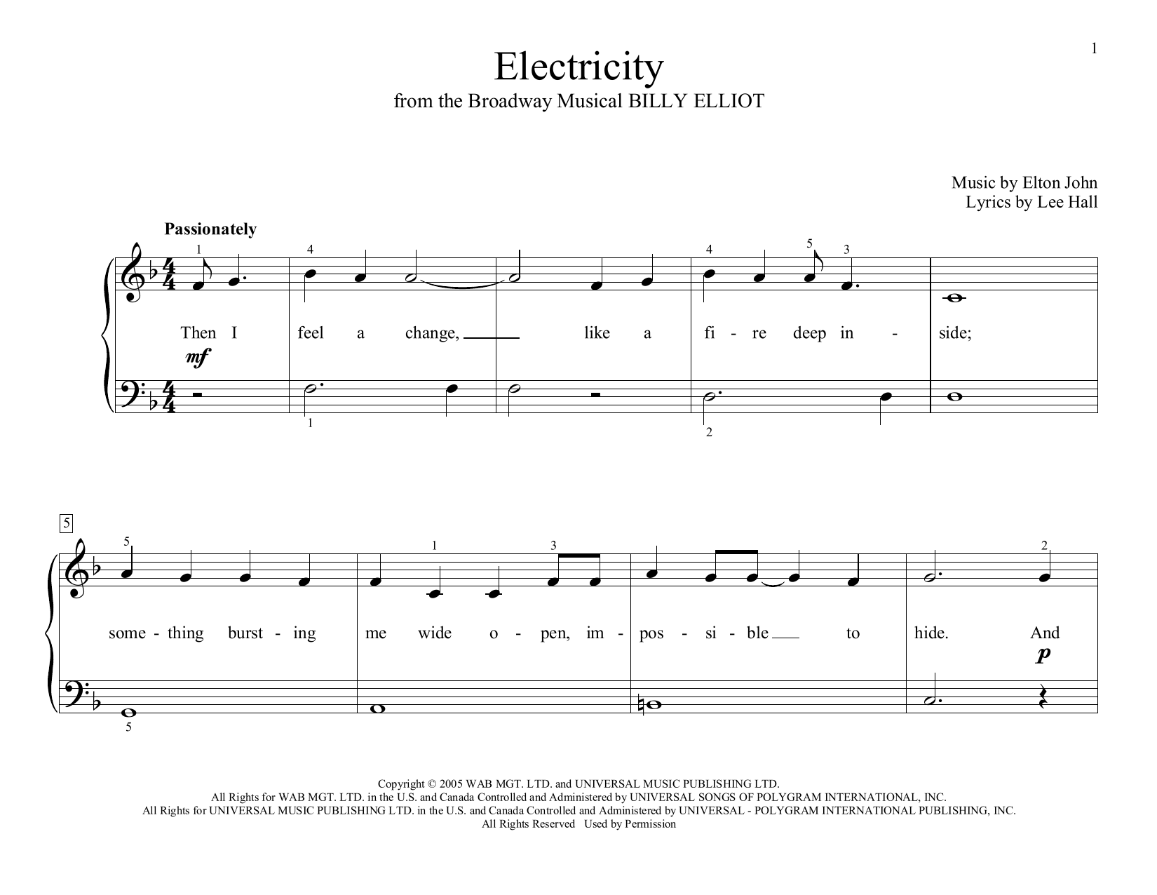 Electricity (arr. Christopher Hussey) (Educational Piano)