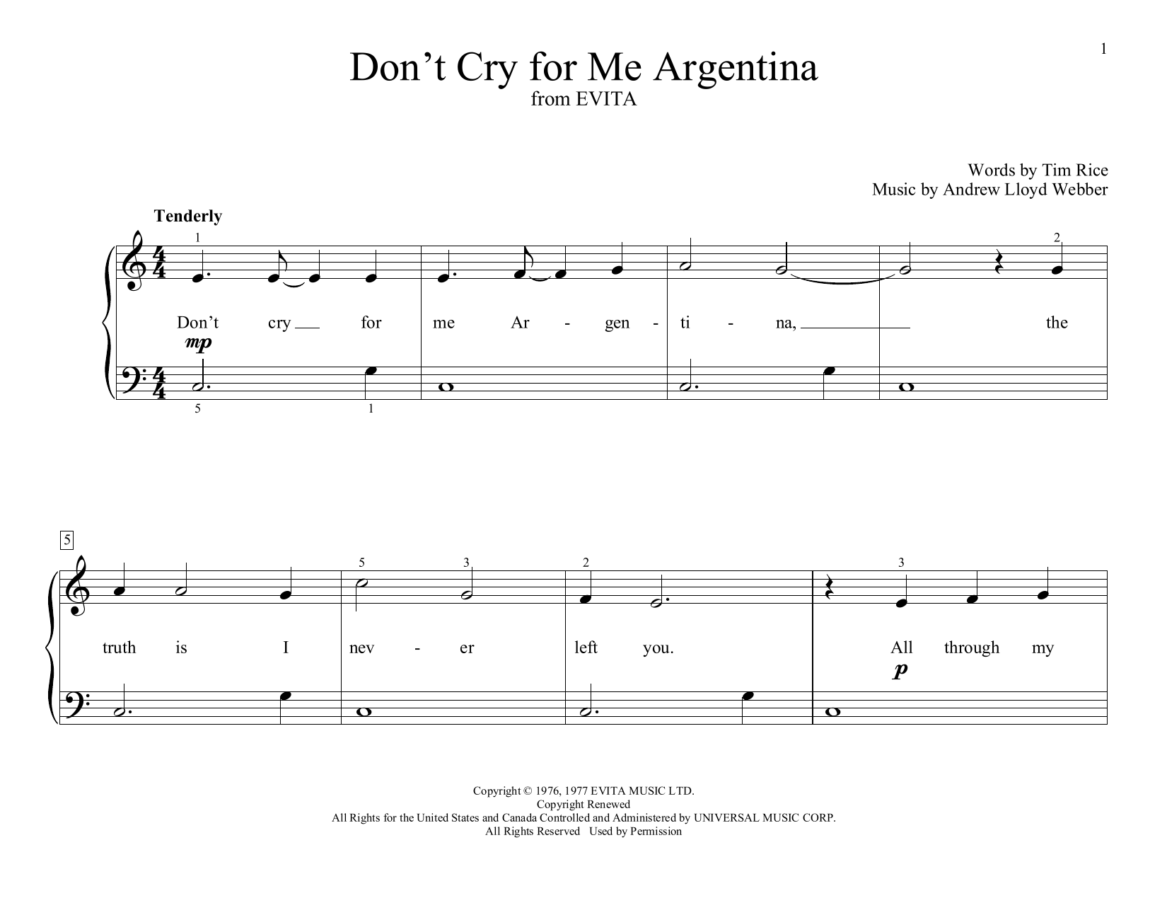 Don't Cry For Me Argentina (from Evita) (arr. Christopher Hussey) (Educational Piano)