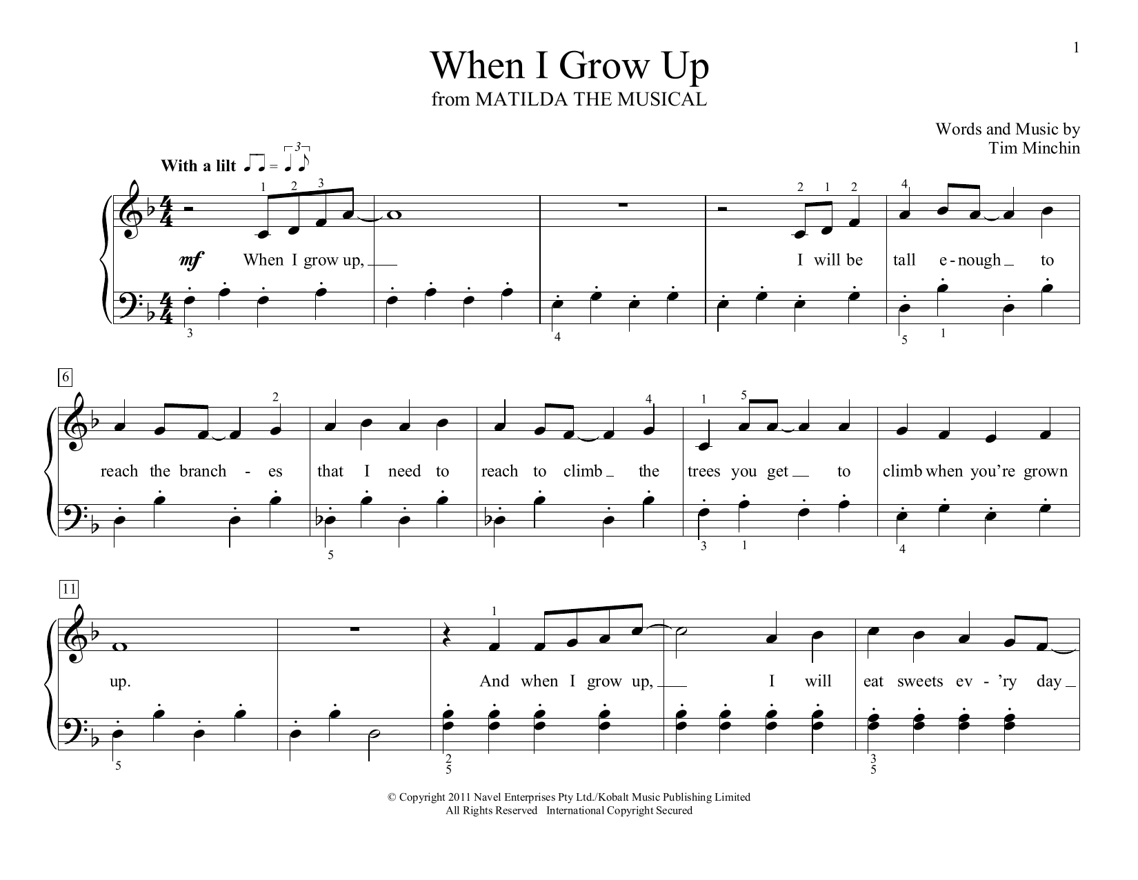When I Grow Up (from Matilda the Musical) (arr. Christopher Hussey) (Educational Piano)