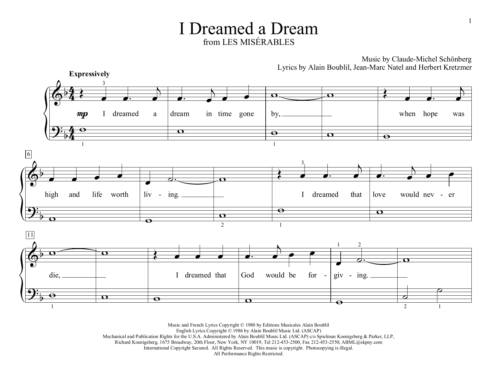 I Dreamed A Dream (from Les Miserables) (arr. Christopher Hussey) (Educational Piano)