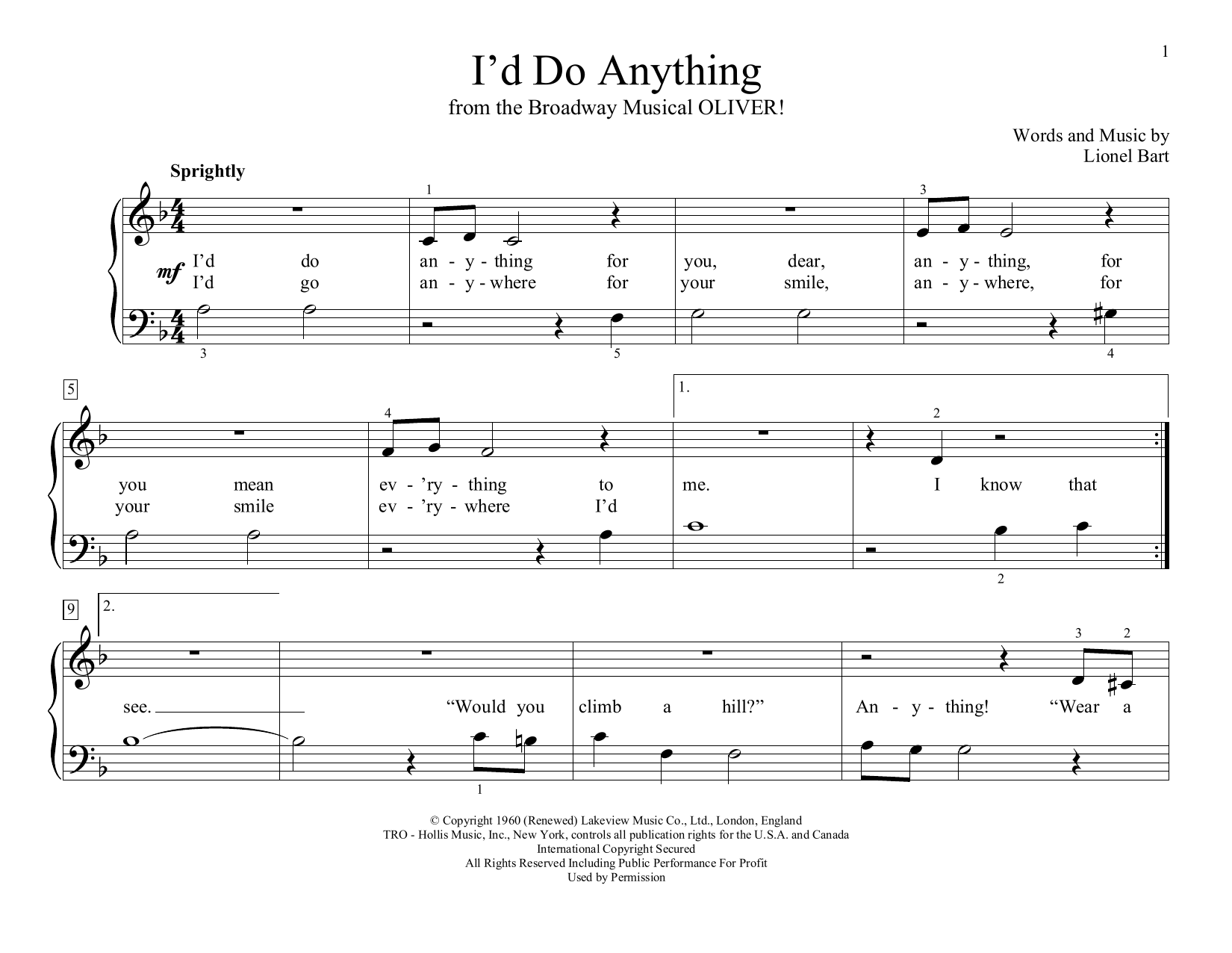 I'd Do Anything (from Oliver!) (arr. Christopher Hussey) (Educational Piano)