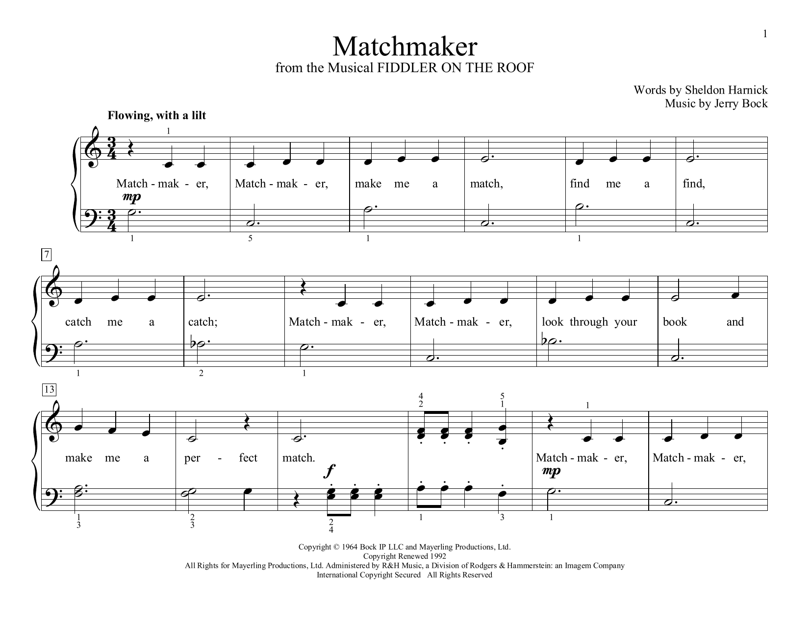 Matchmaker (from Fiddler on the Roof) (arr. Christopher Hussey) (Educational Piano)