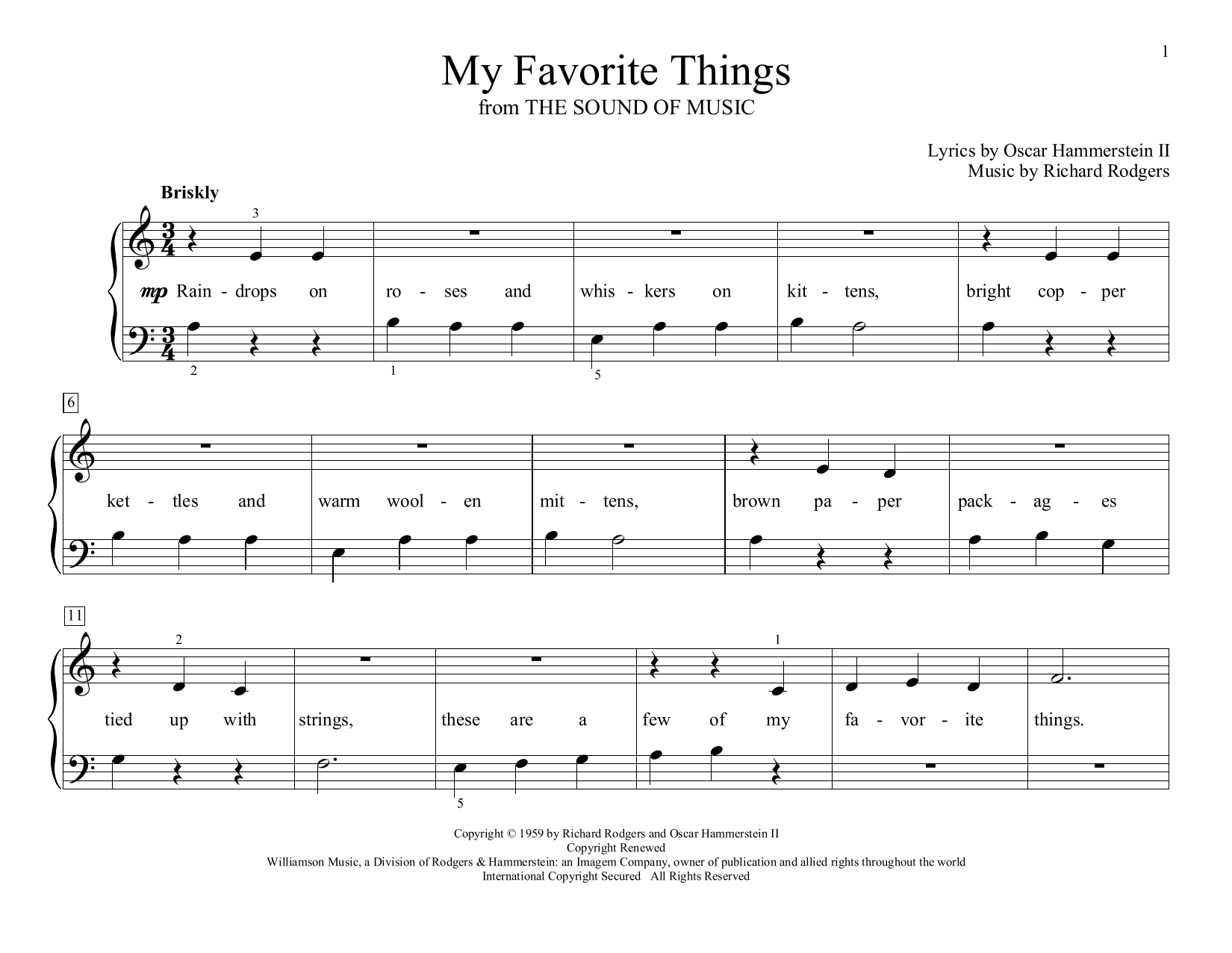 My Favorite Things (from The Sound of Music) (arr. Christopher Hussey) (Educational Piano)