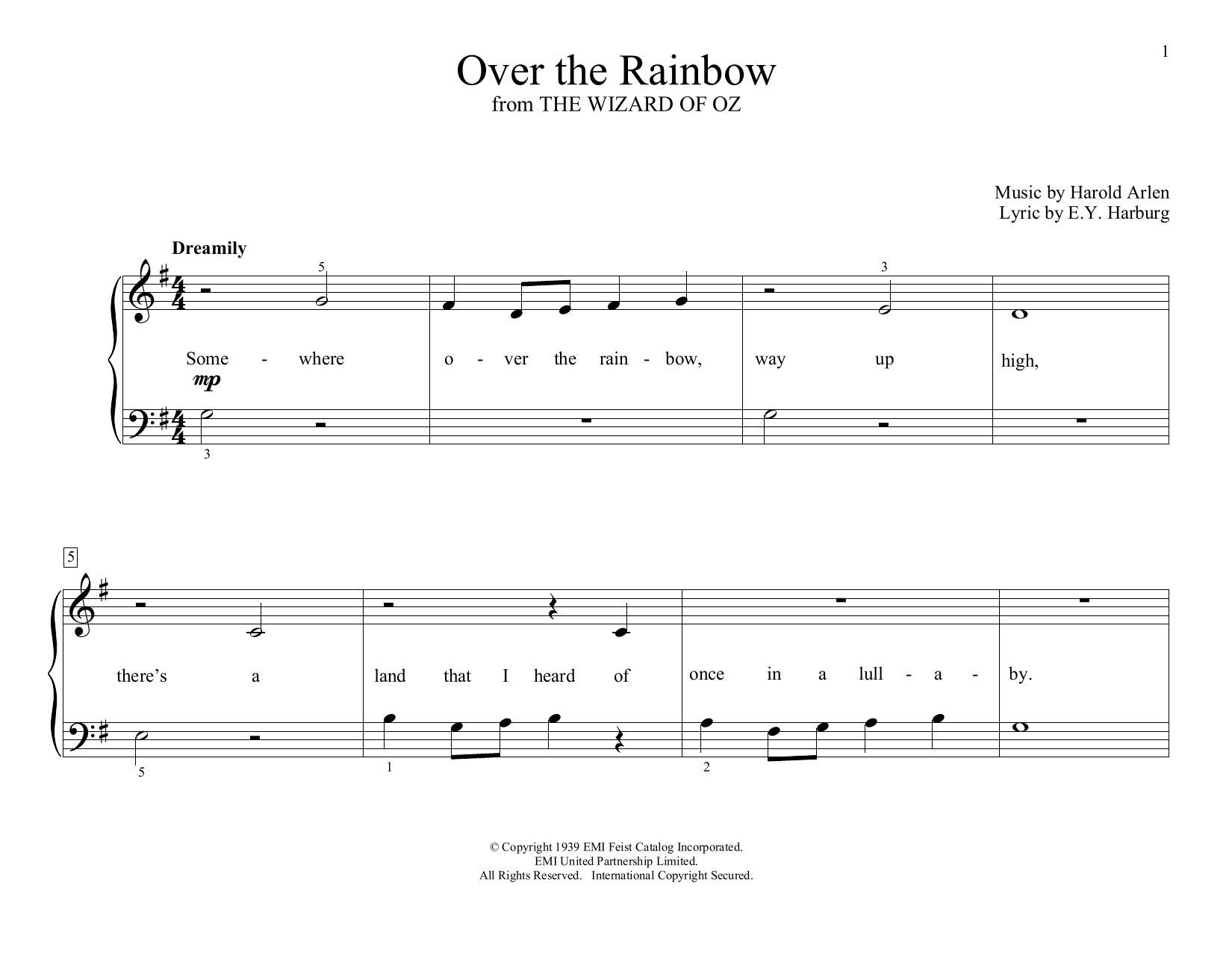 Over The Rainbow (from The Wizard Of Oz) (arr. Christopher Hussey) (Educational Piano)