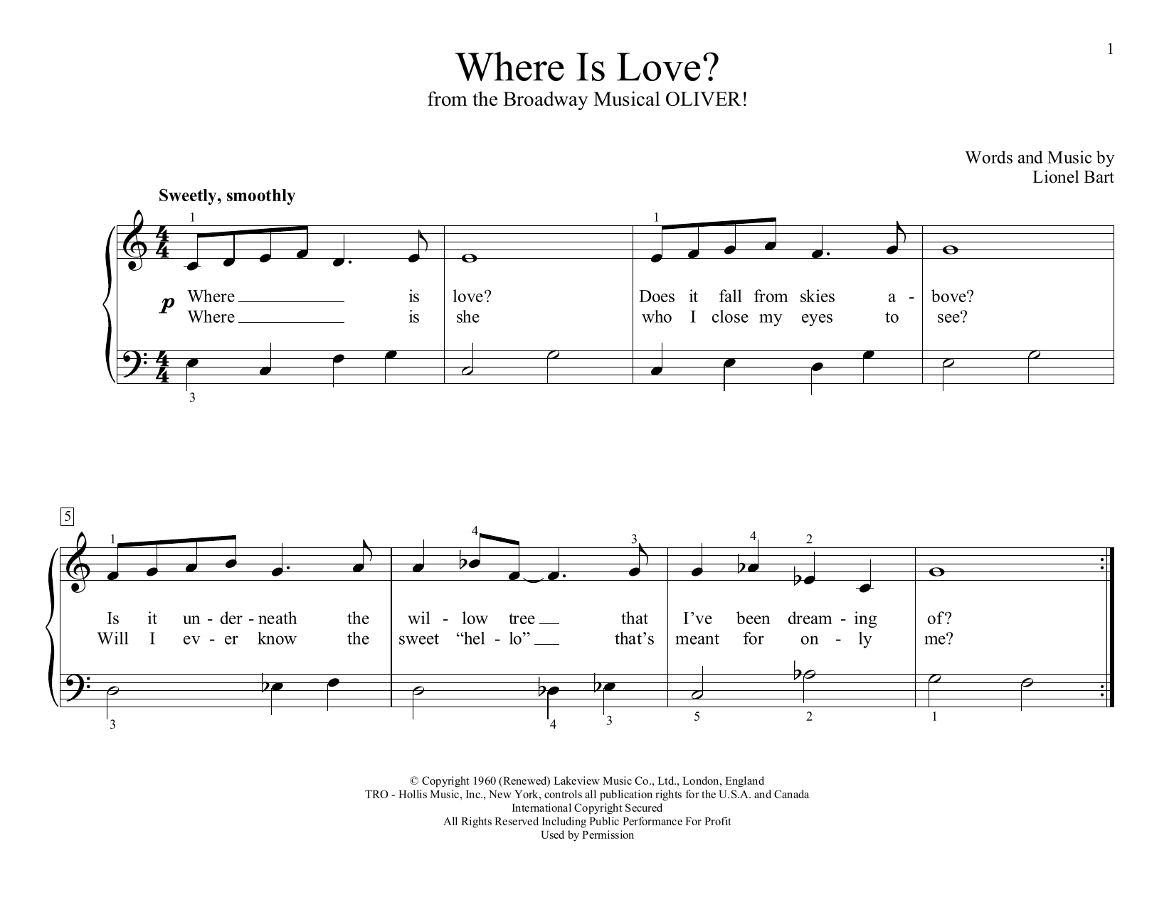 Where Is Love? (from Oliver!) (arr. Christopher Hussey) (Educational Piano)