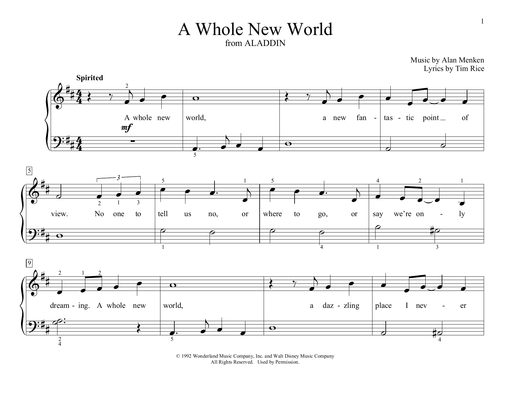 A Whole New World (from Aladdin) (arr. Christopher Hussey) (Educational Piano)